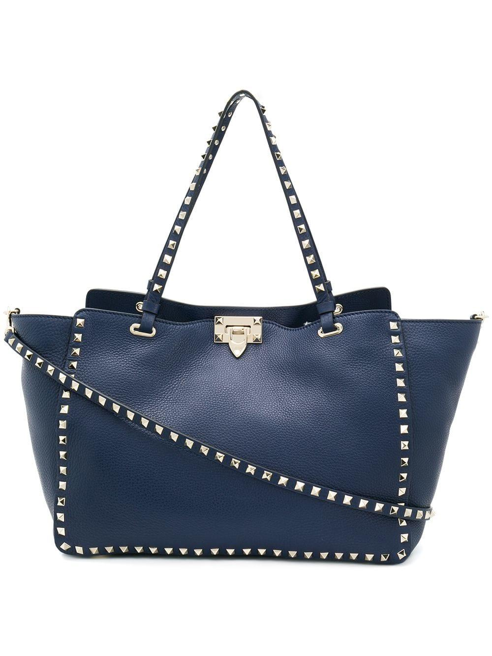 0f190a06b0abc Lyst - Valentino Rockstud Leather Tote Bag in Blue - Save 20%