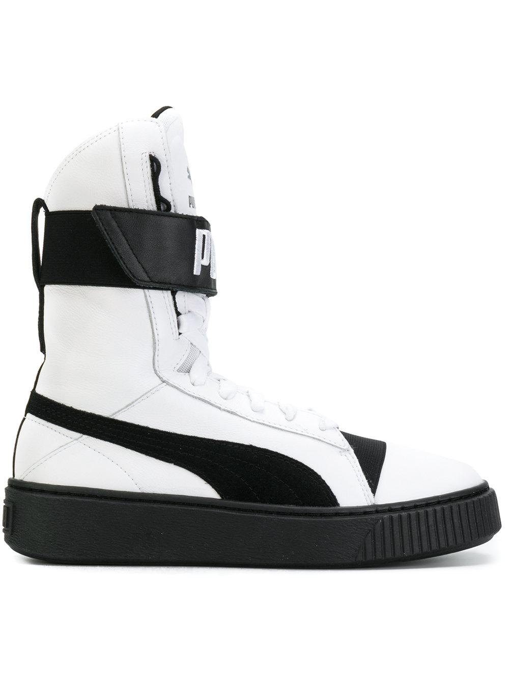 PUMA Leather Platform Boots in White