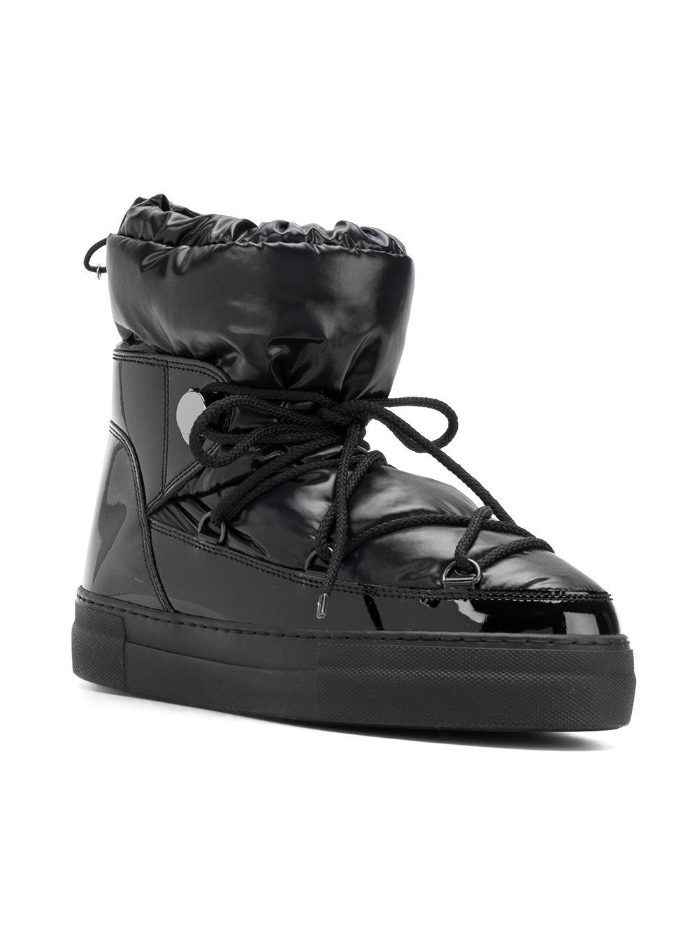 Moncler Leather Padded Snow Boots in Black
