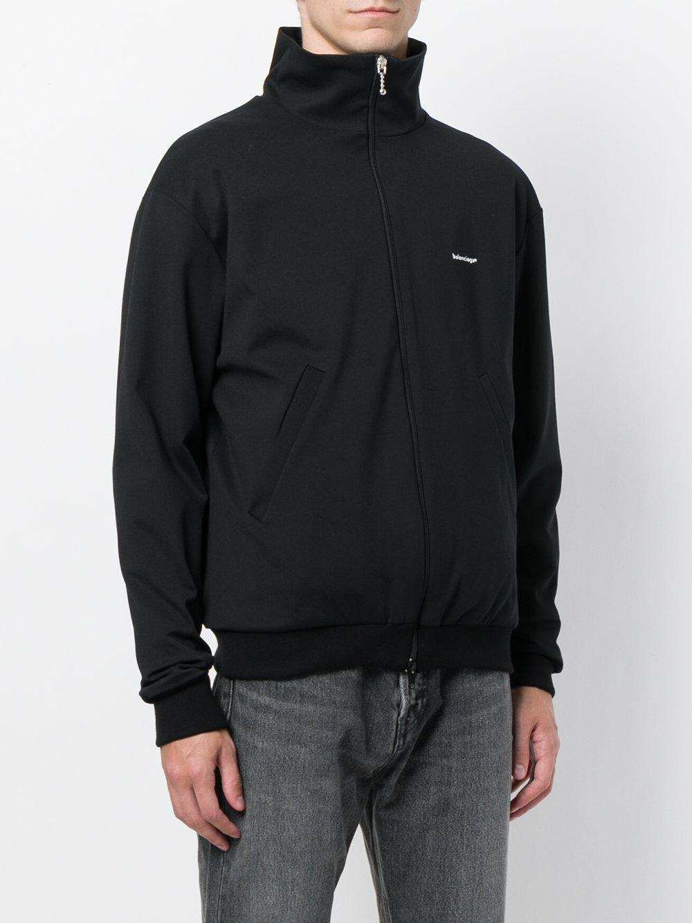 Balenciaga Cotton Logo Zip-up Sweatshirt in Black for Men