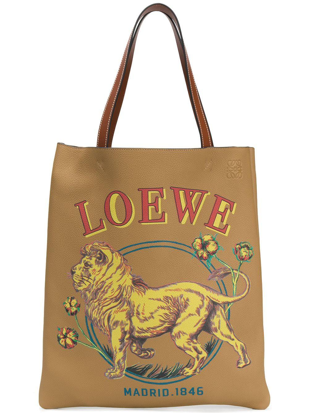 Lyst - Loewe Lion Leather Vertical Tote Bag in Natural for Men ... f6068ded2701d