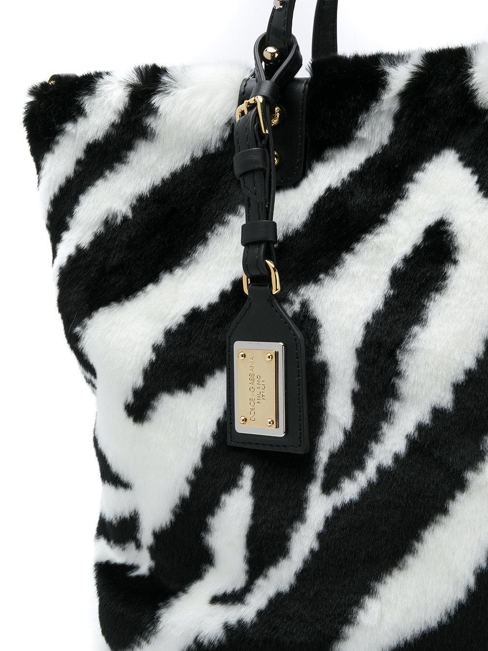 73b8f00195b8 Lyst - Dolce   Gabbana Zebra Print Fur Shopping Bag in White