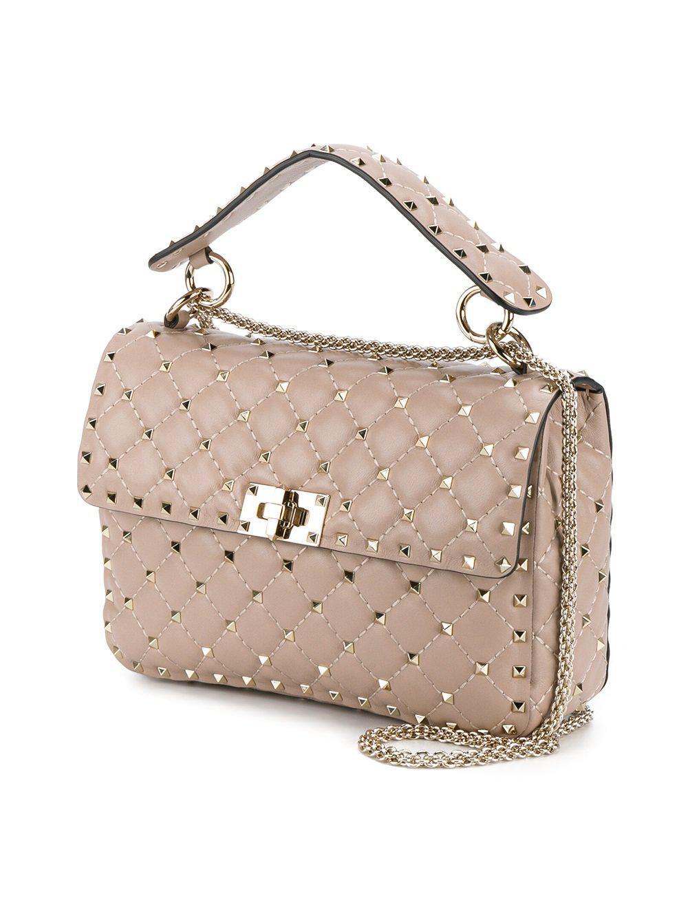 Lyst Valentino Rocskstud Spike Leather Shoulder Bag In Pink