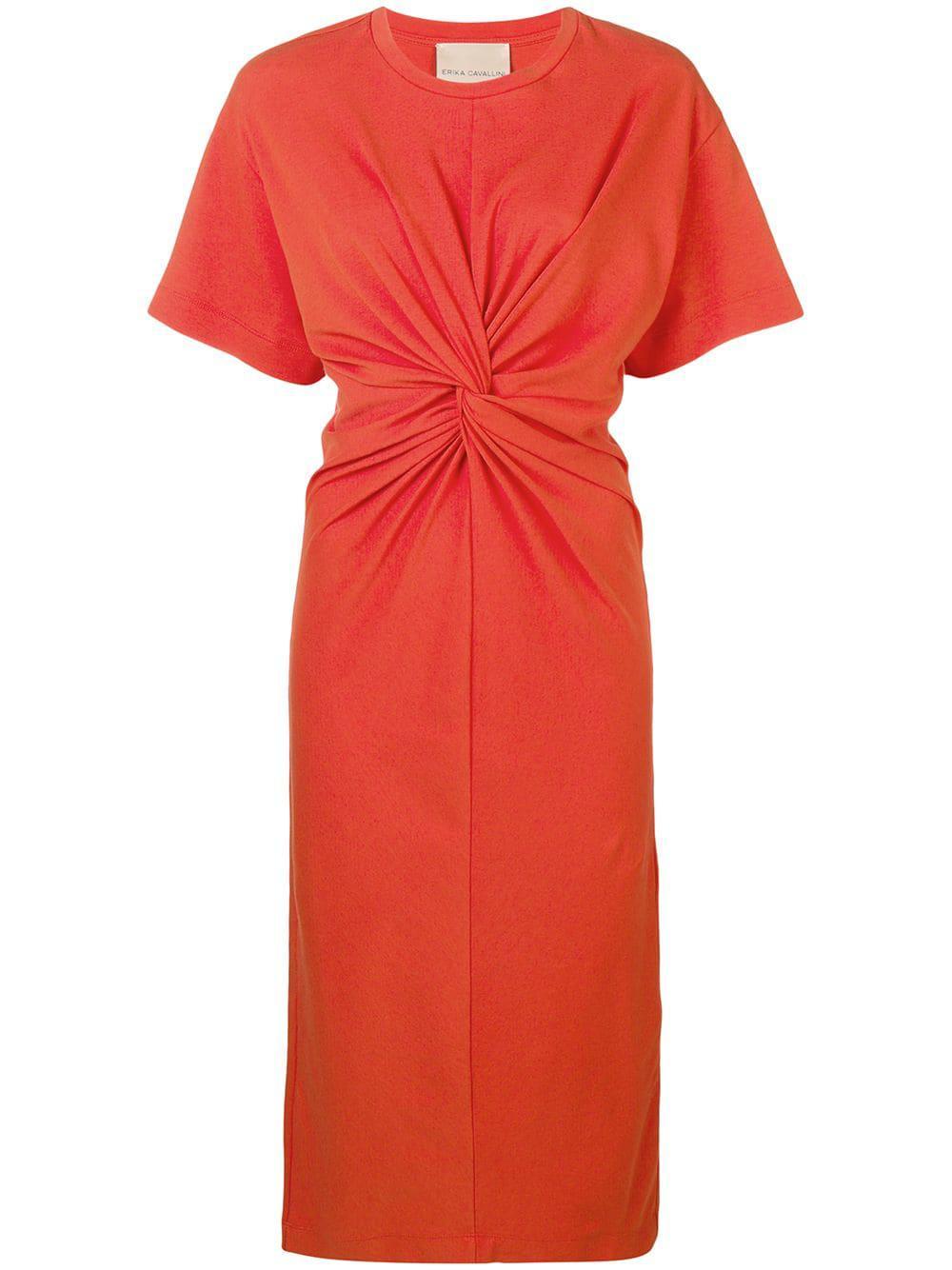5148b9927c5b Erika Cavallini Semi Couture Dafne Cotton Dress in Orange - Save 1 ...