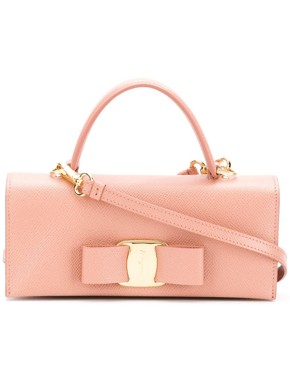 bf3c2d57e4 Ferragamo Vara Leather Clutch in Pink - Lyst