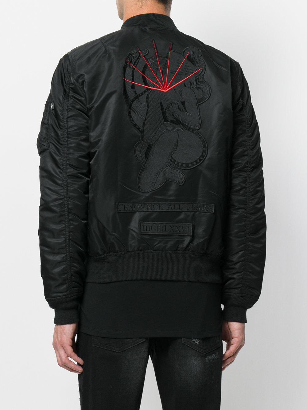 Marcelo Burlon Synthetic Rayen Alpha Ma-1 Jacket in Black for Men