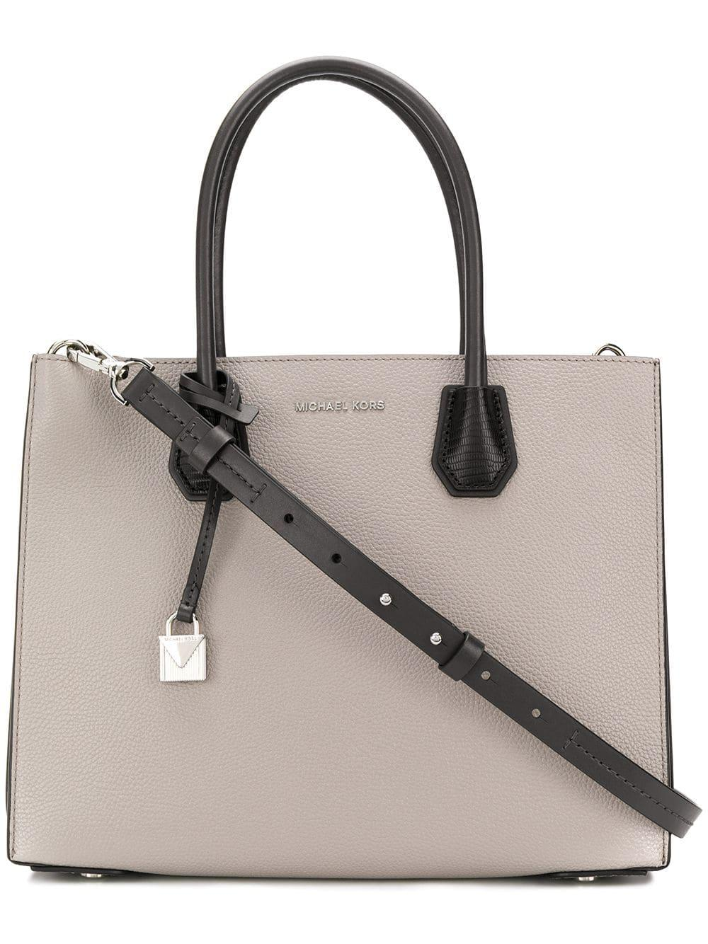 Lyst - Michael Michael Kors Mercer Leather Tote Bag in Gray - Save ... 06fa2581e