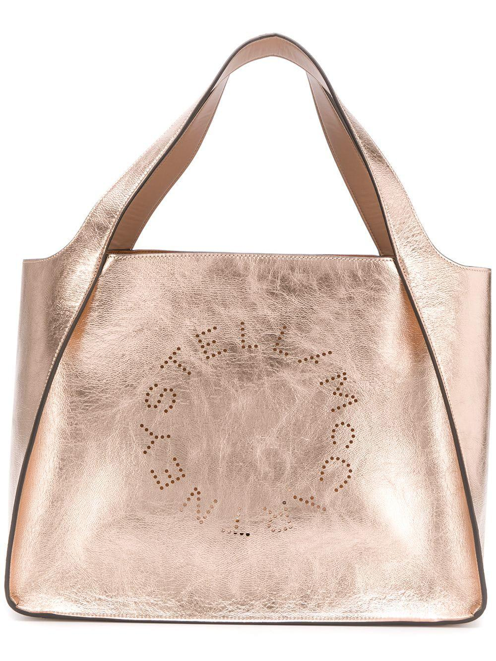 Lyst - Stella McCartney Stella Logo Tote Bag in Metallic - Save 30% a35bdb5136580