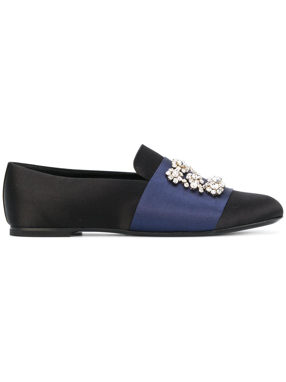 Roger Vivier Flower Strass satin loafers ELrOBqx
