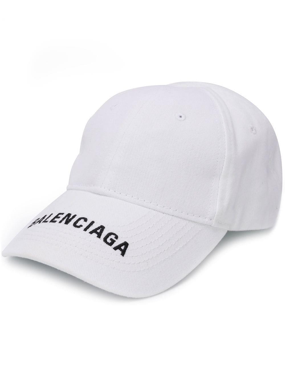 6d3bf160597 Lyst - Balenciaga Embroidered Logo Cap in White