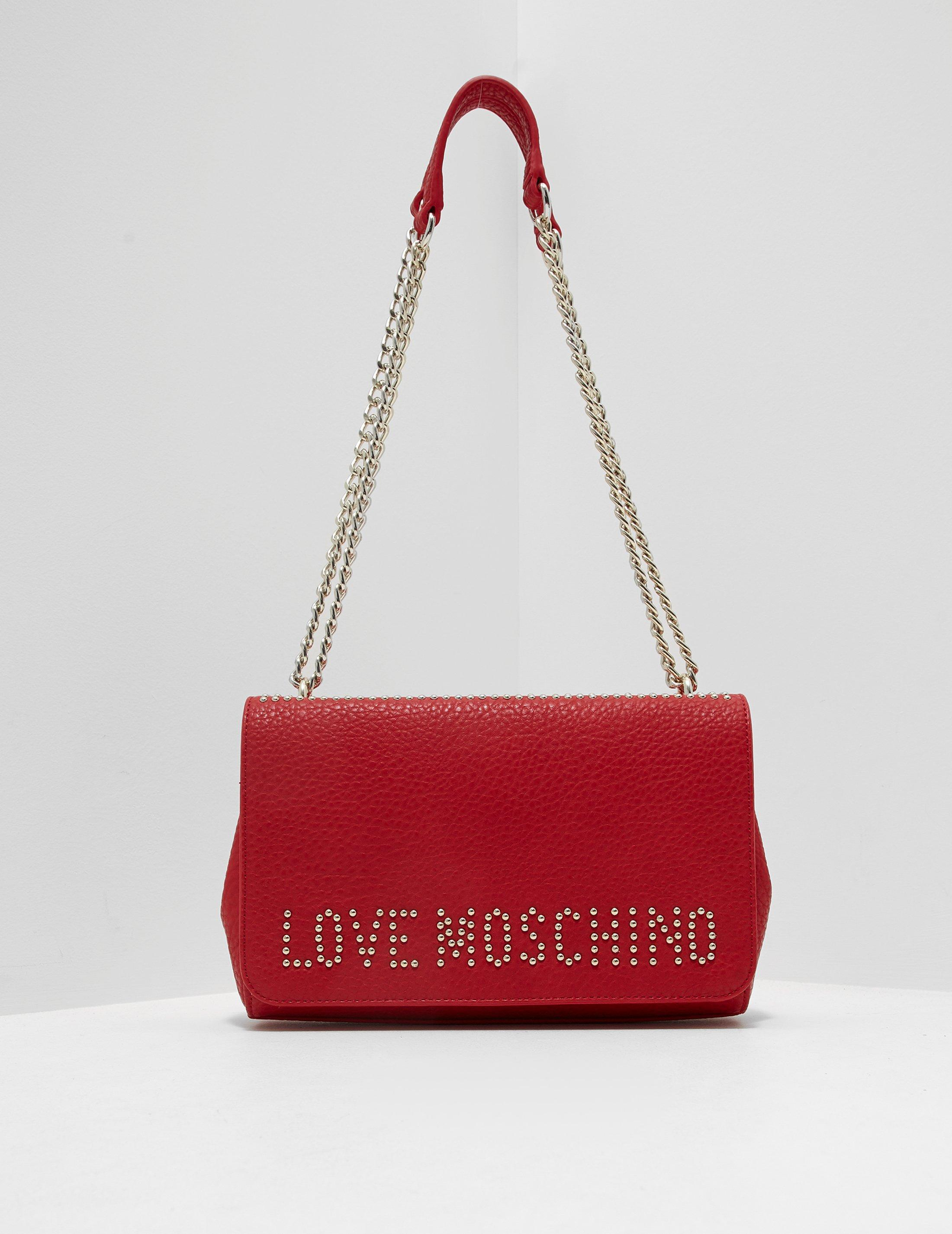 d5fa0d7a7fd Lyst - Love Moschino Womens Stud Shoulder Bag Red in Red