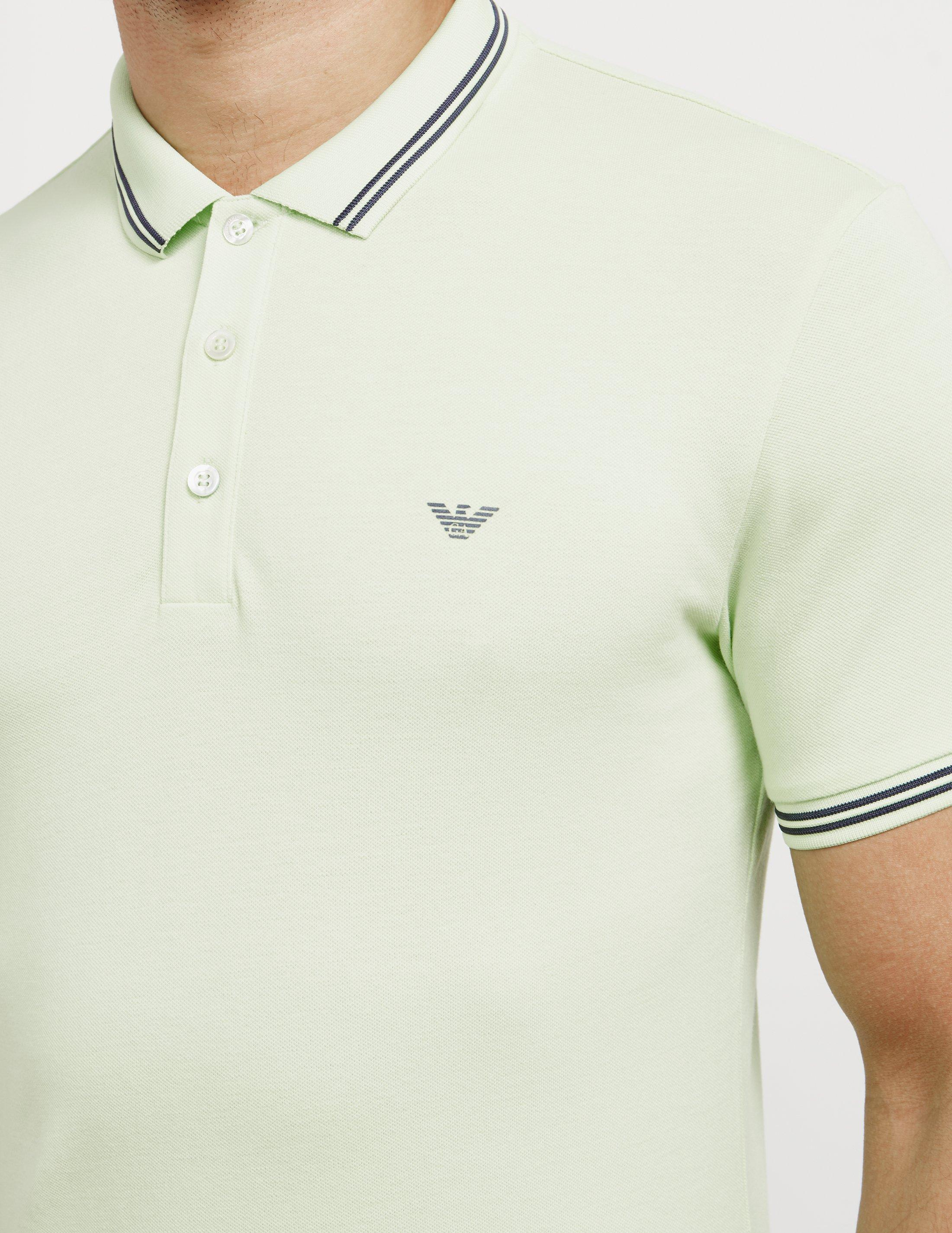 Emporio Armani Mens Basic Tipped Short Sleeve Polo Shirt Mintmint