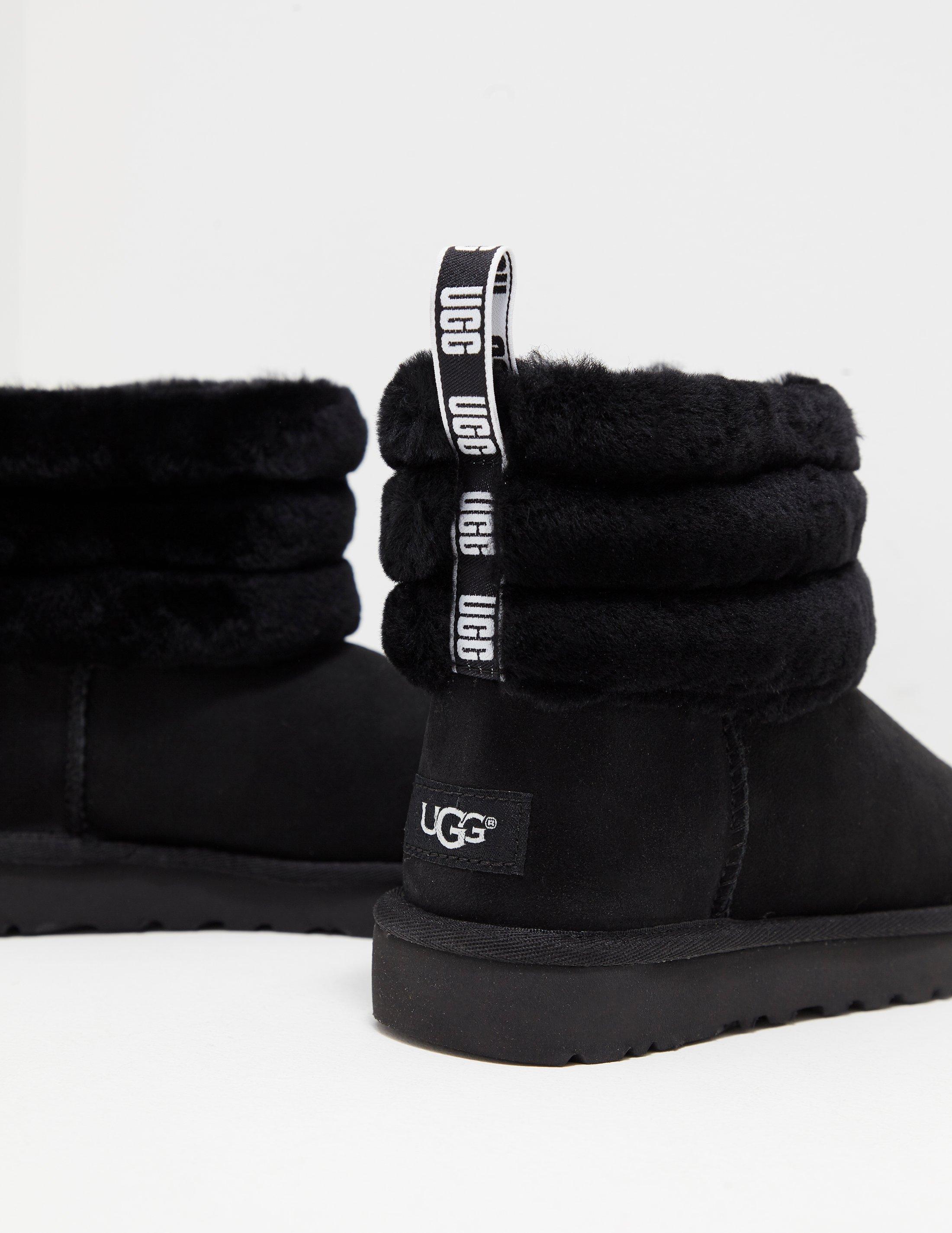 39feb21671f Ugg Womens Fluff Mini Quilted Logo Boots Women's Black