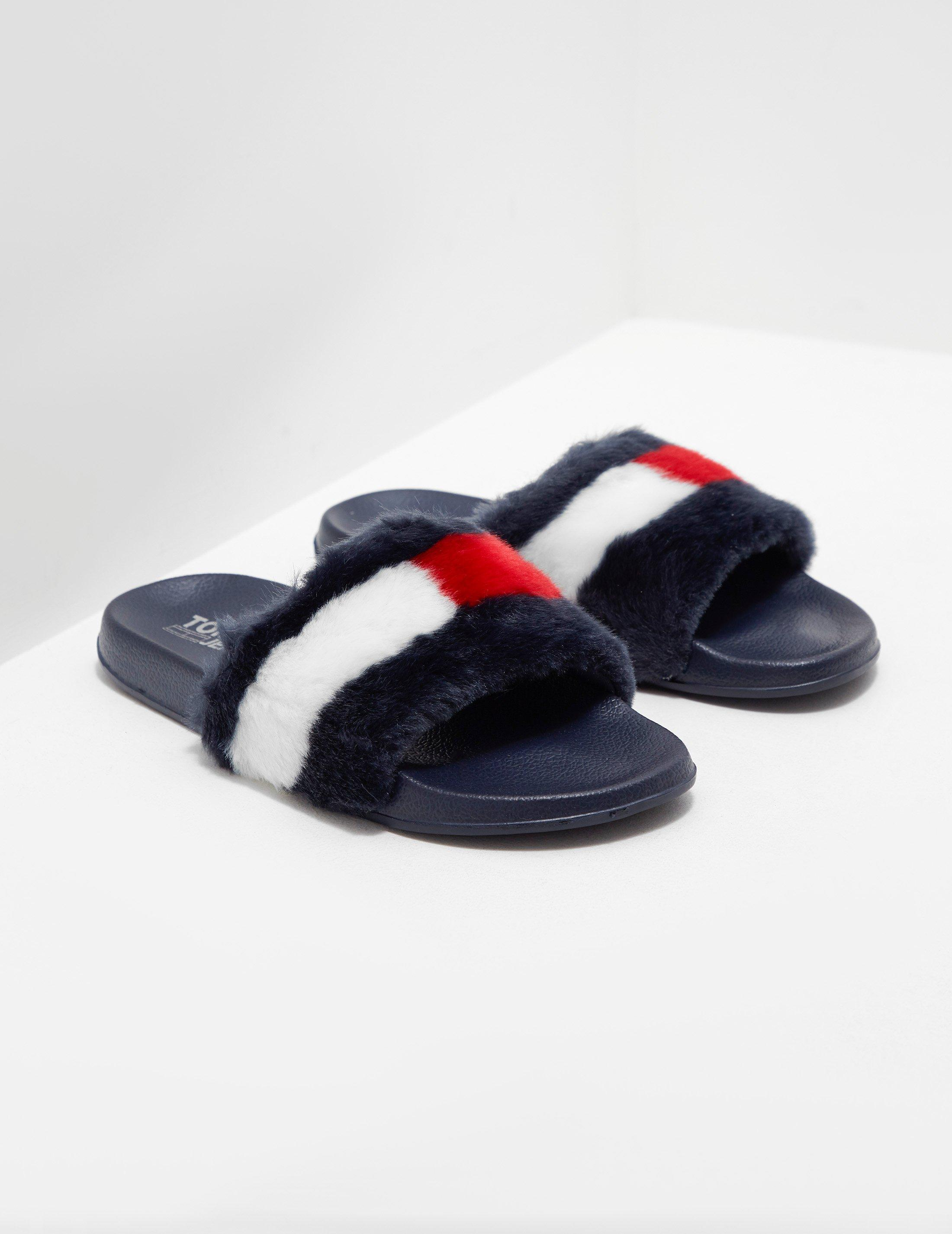 4d2d6e6bceb3 Lyst - Tommy Hilfiger Funny Fur Pool Slides in Blue