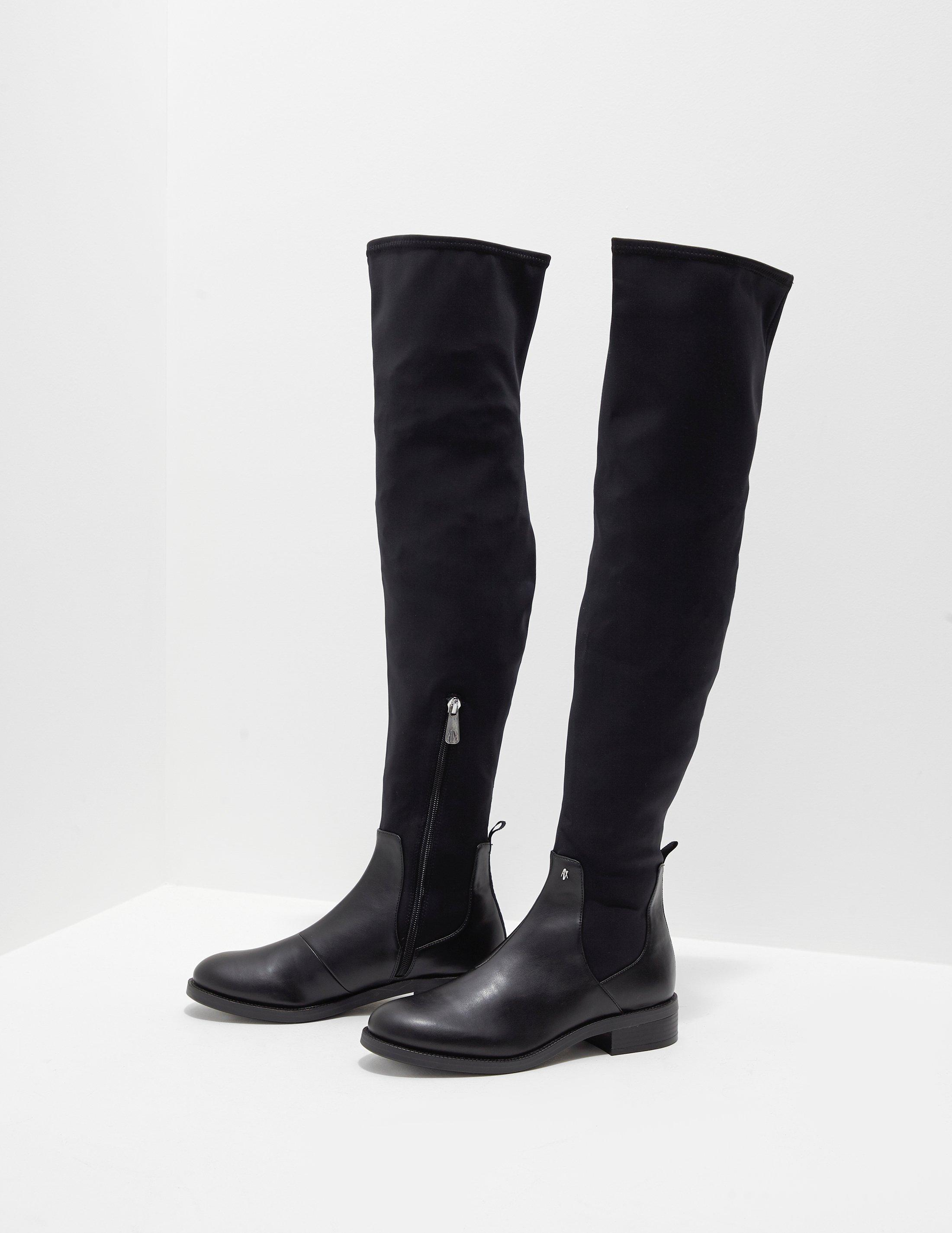 127183acb855 Lyst - Armani Exchange Neoprene Knee High Boots Black in Black