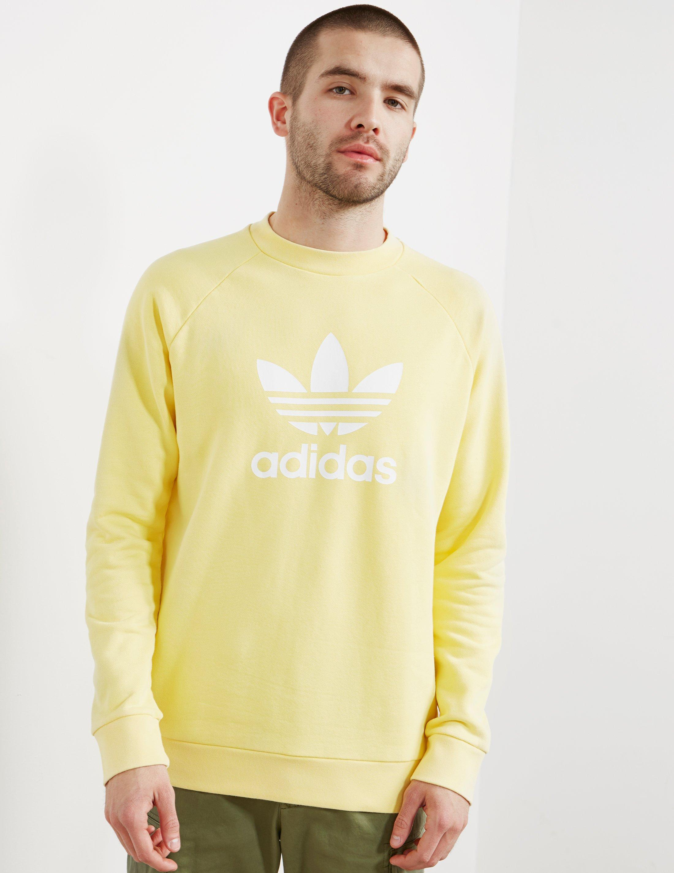 adidas Originals Cotton Mens Trefoil Crew Sweatshirt Yellow