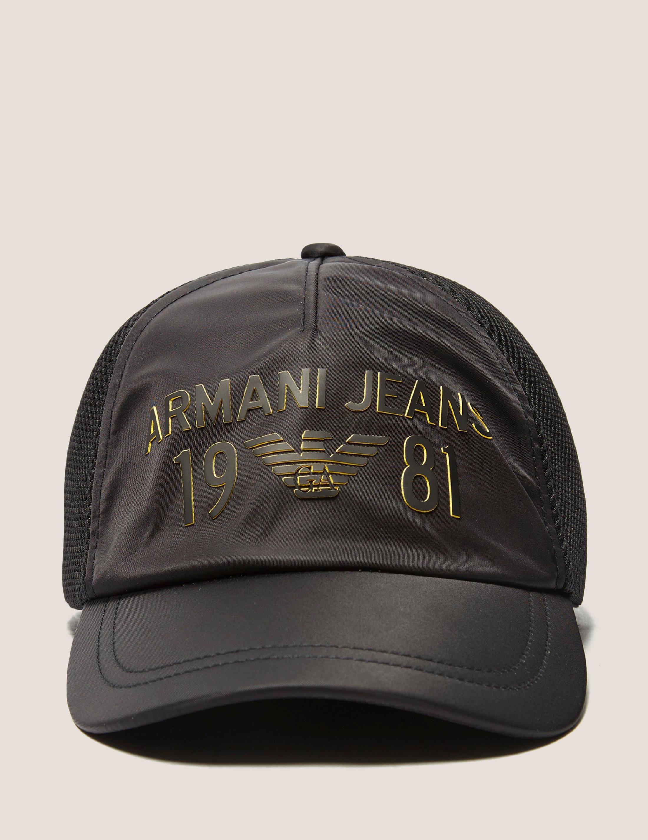 7726c9b20664e Armani Jeans Mens Large Logo Baseball Cap Black in Black for Men - Lyst