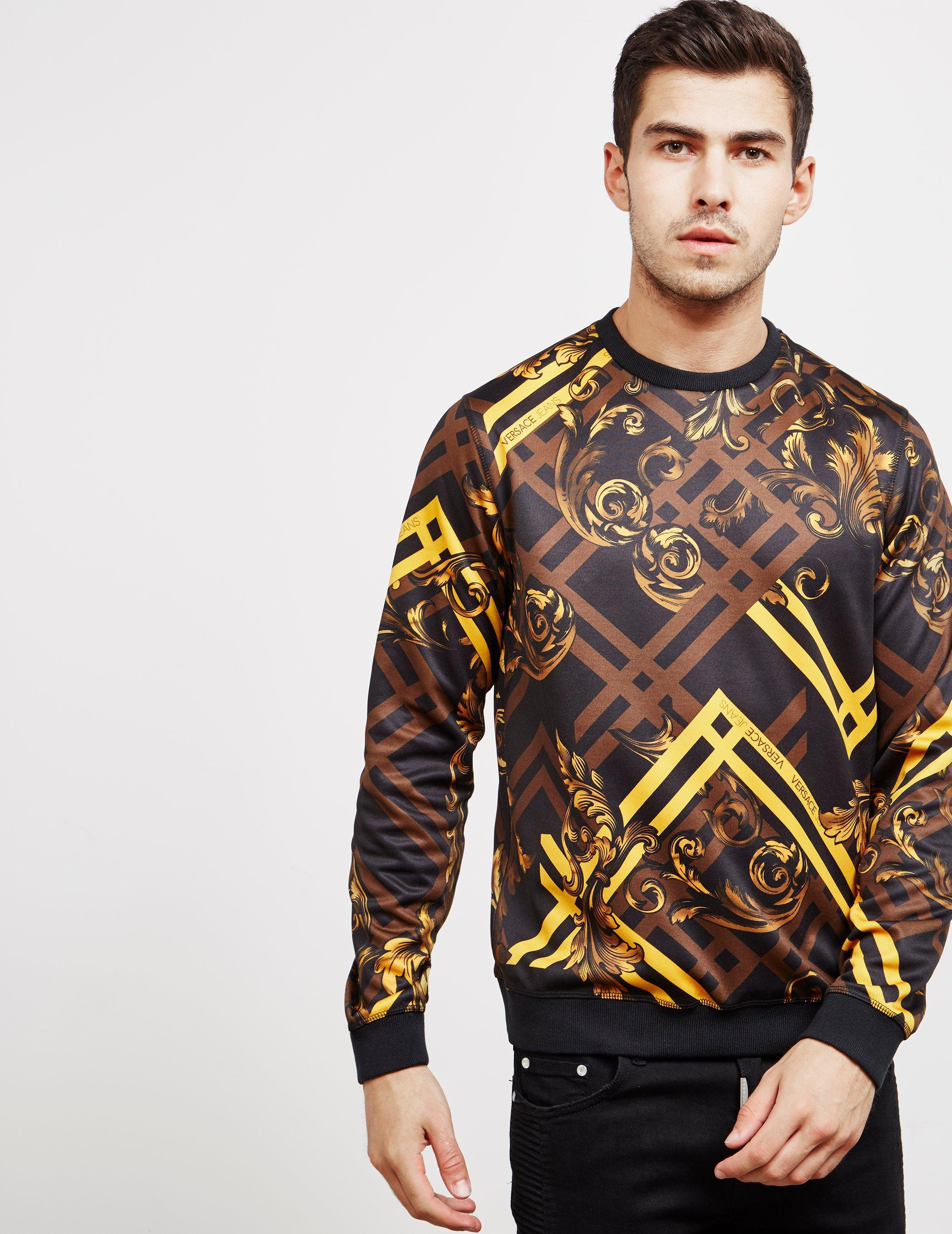 361afe5f Versace Jeans Mens Baroque Print Sweatshirt Black in Black for Men ...
