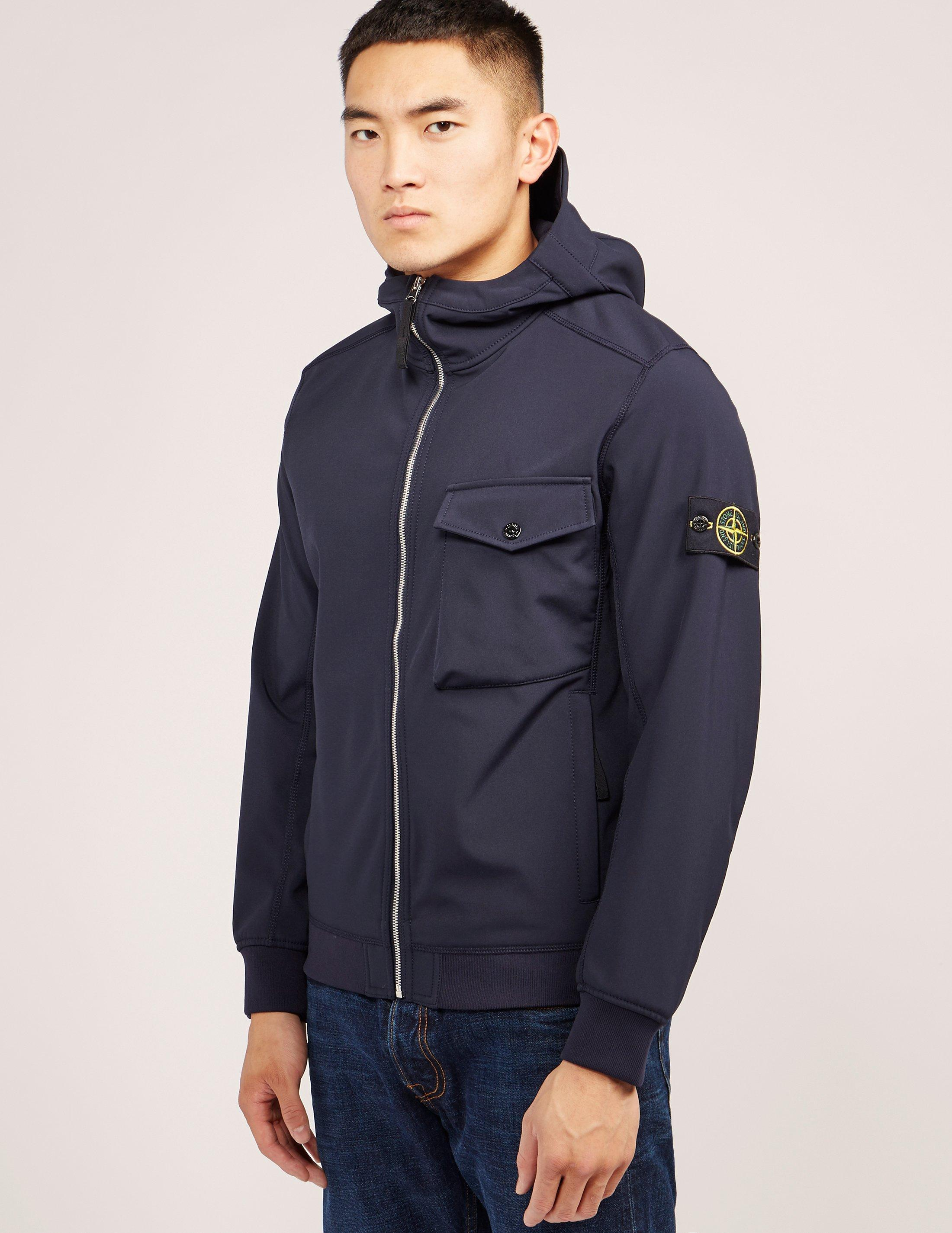 stone island shell hooded jacket in blue for men lyst. Black Bedroom Furniture Sets. Home Design Ideas