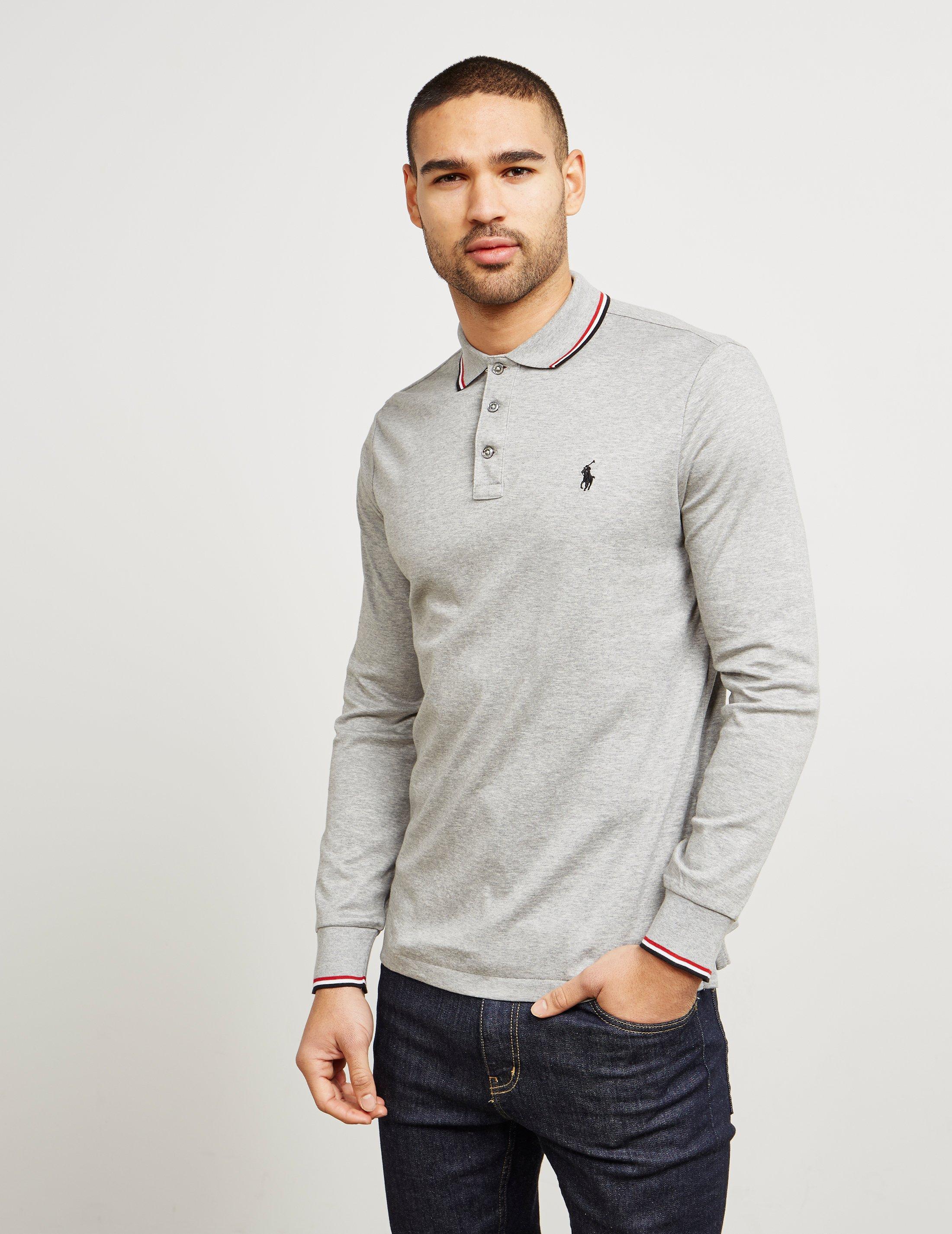 ralph lauren long sleeve polo shirt grey