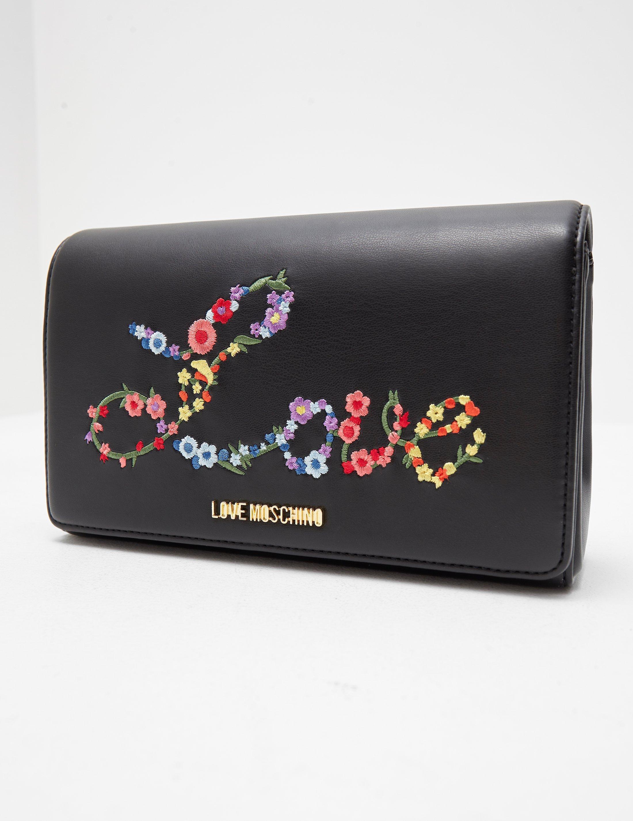2d298b45c08 Lyst - Love Moschino Floral Love Shoulder Bag Black in Black