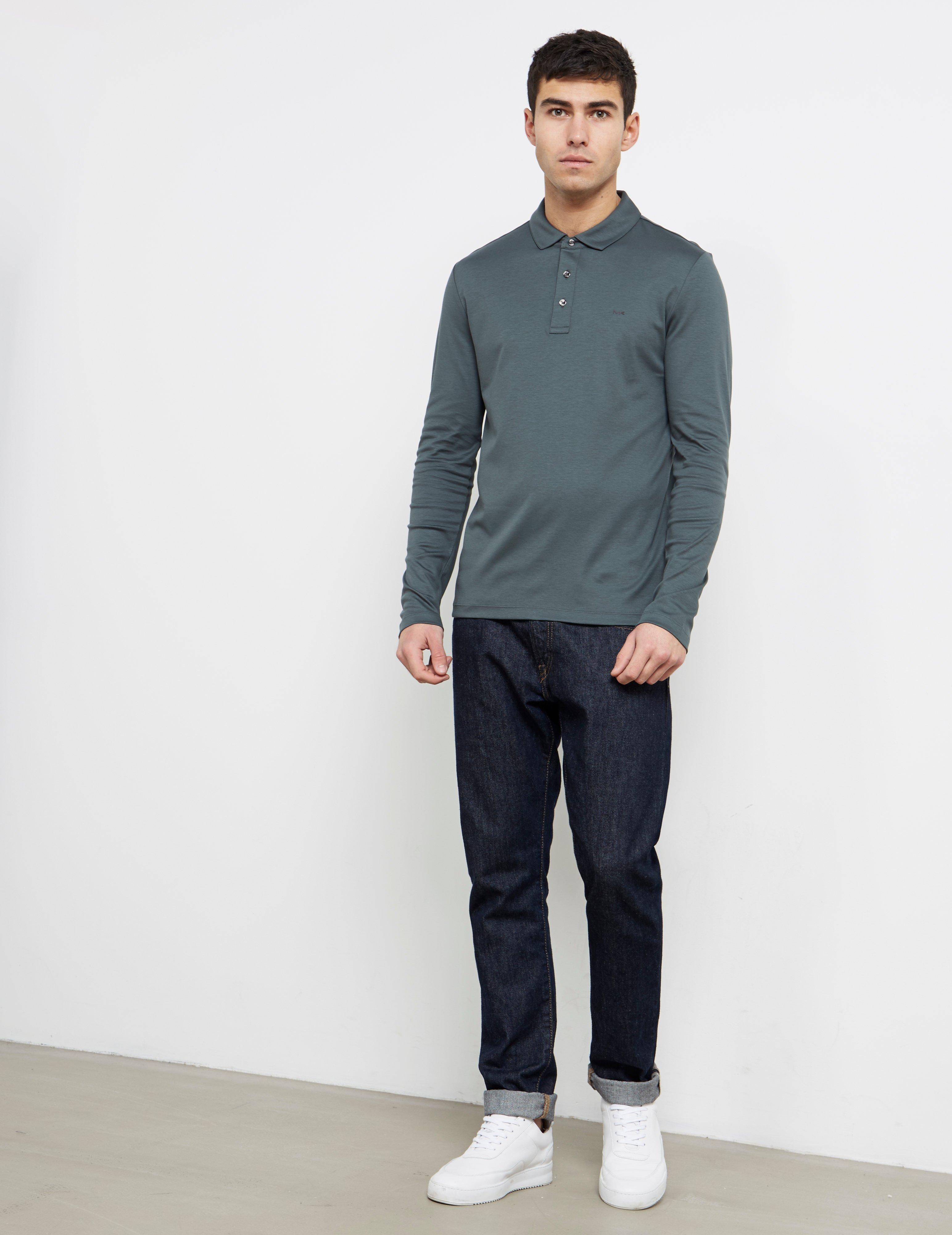 12bfac63 Lyst - Michael Kors Mens Sleek Long Sleeve Polo Shirt Green in Green for Men