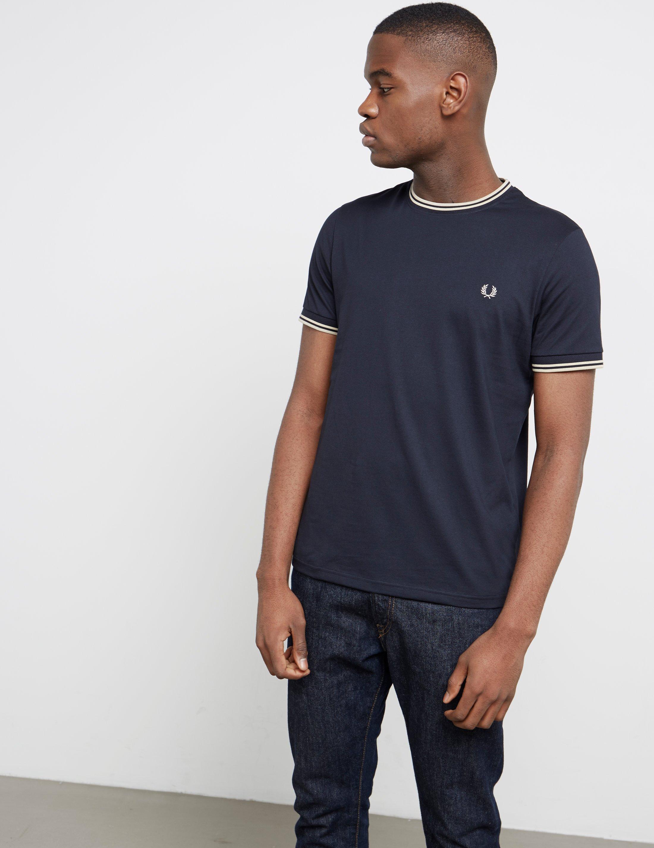 Mens Tipped Ringer Short Sleeve T-shirt Navy/white