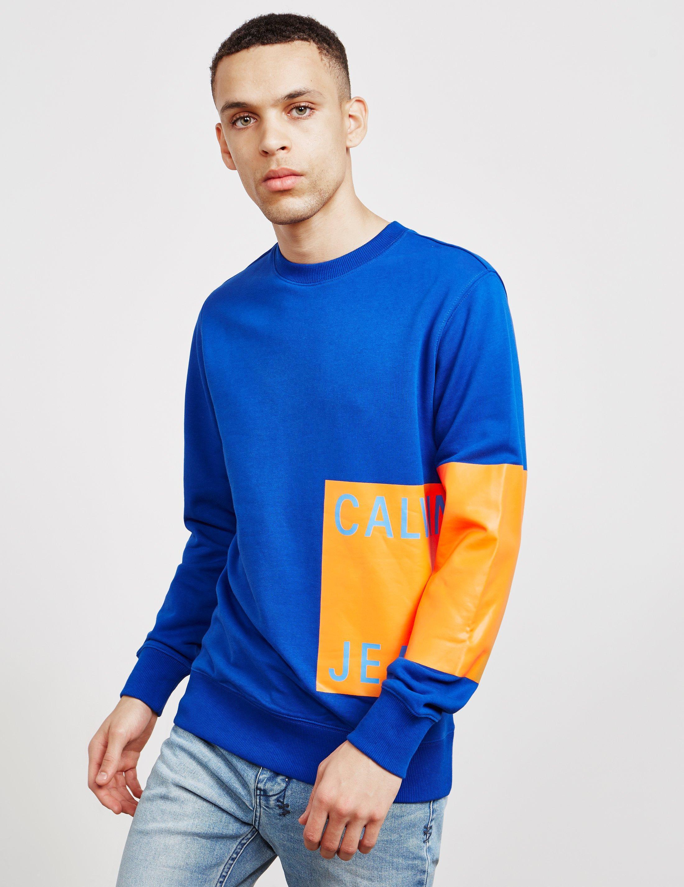 d2b37f698 Lyst - Calvin Klein Mens Print Patch Logo Sweatshirt Blue in Blue ...