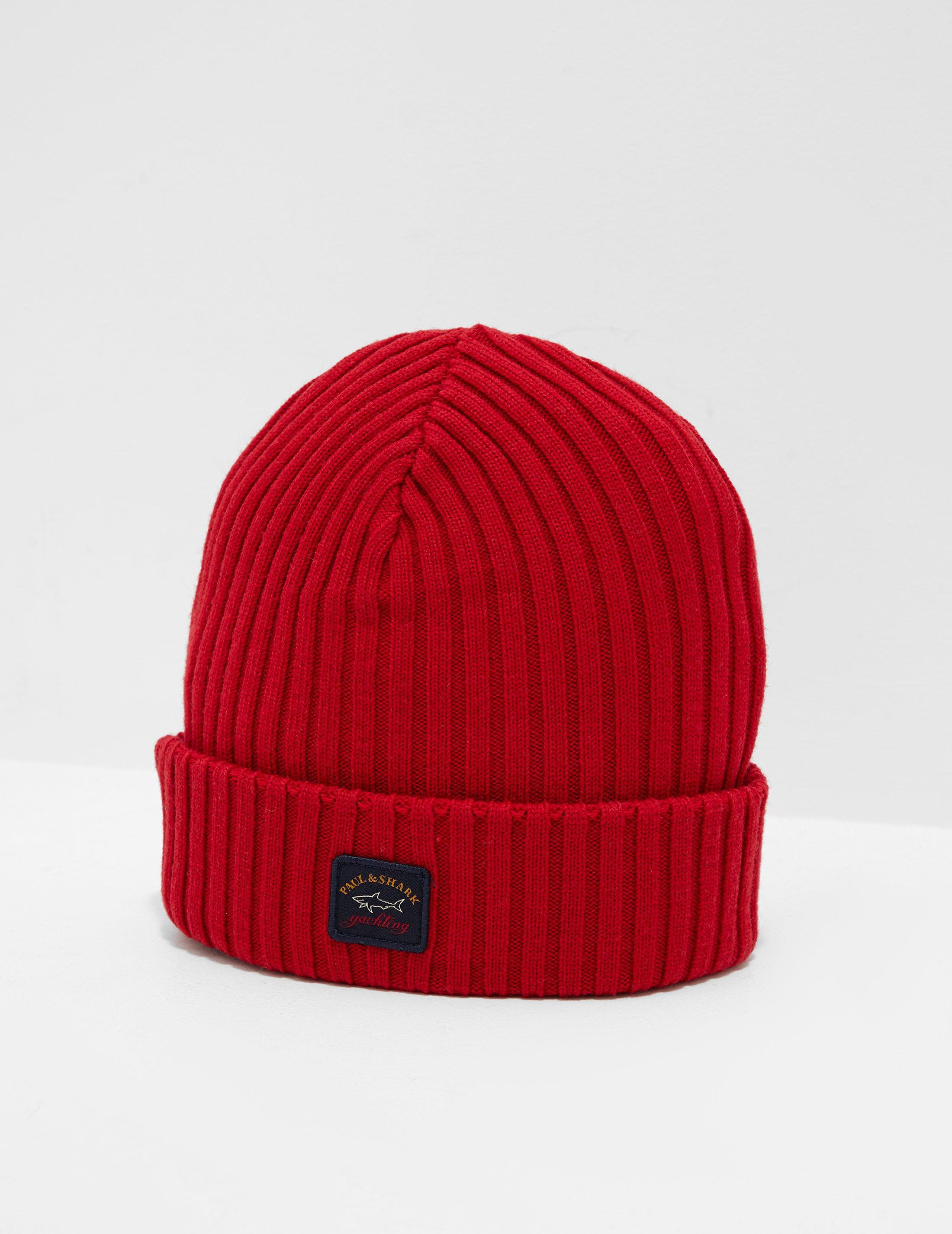 078a56b1d51 Paul   Shark Mens Patch Beanie Red in Red for Men - Lyst