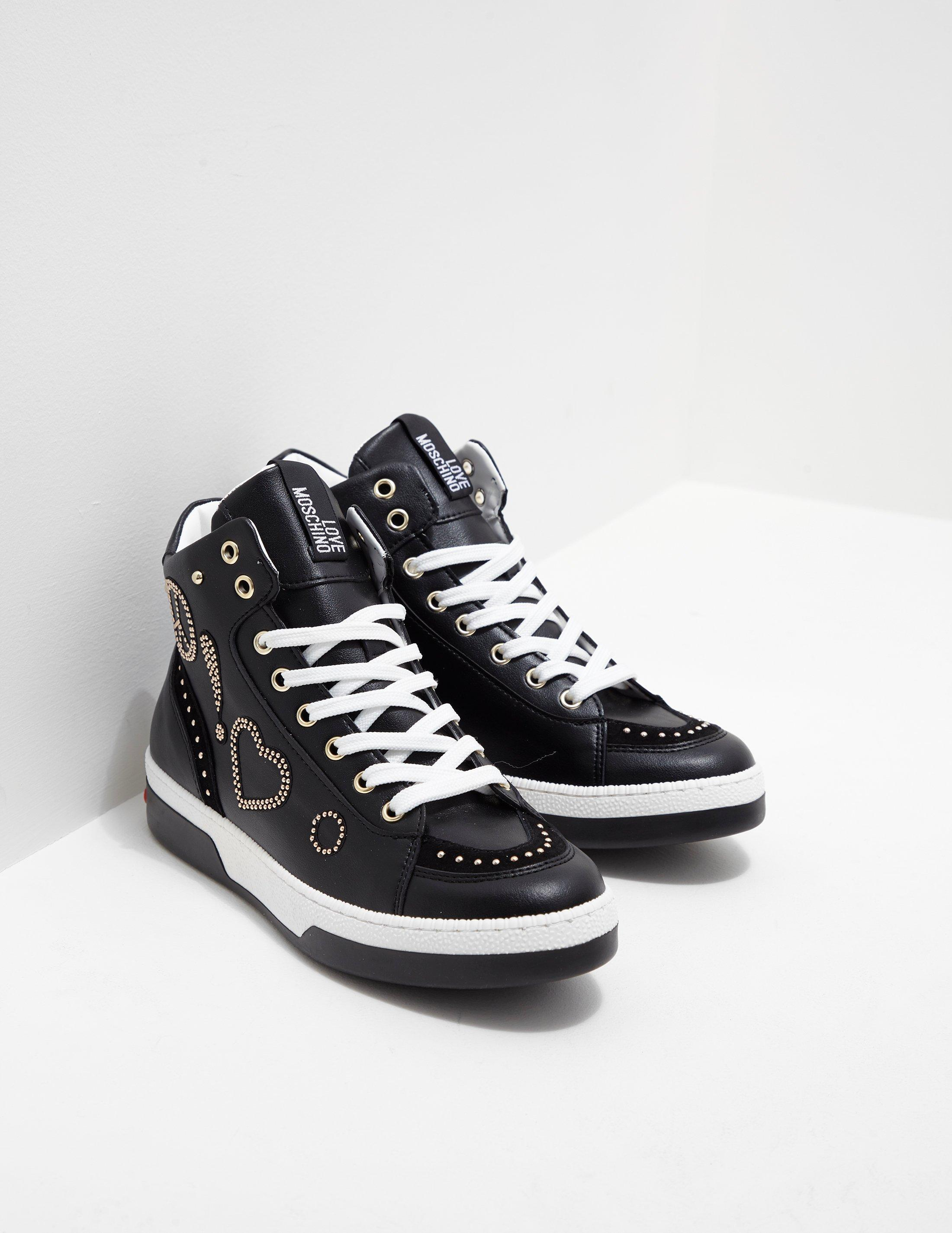 19f65c5ea1 Lyst - Love Moschino Womens Stud High Top Trainers - Online ...
