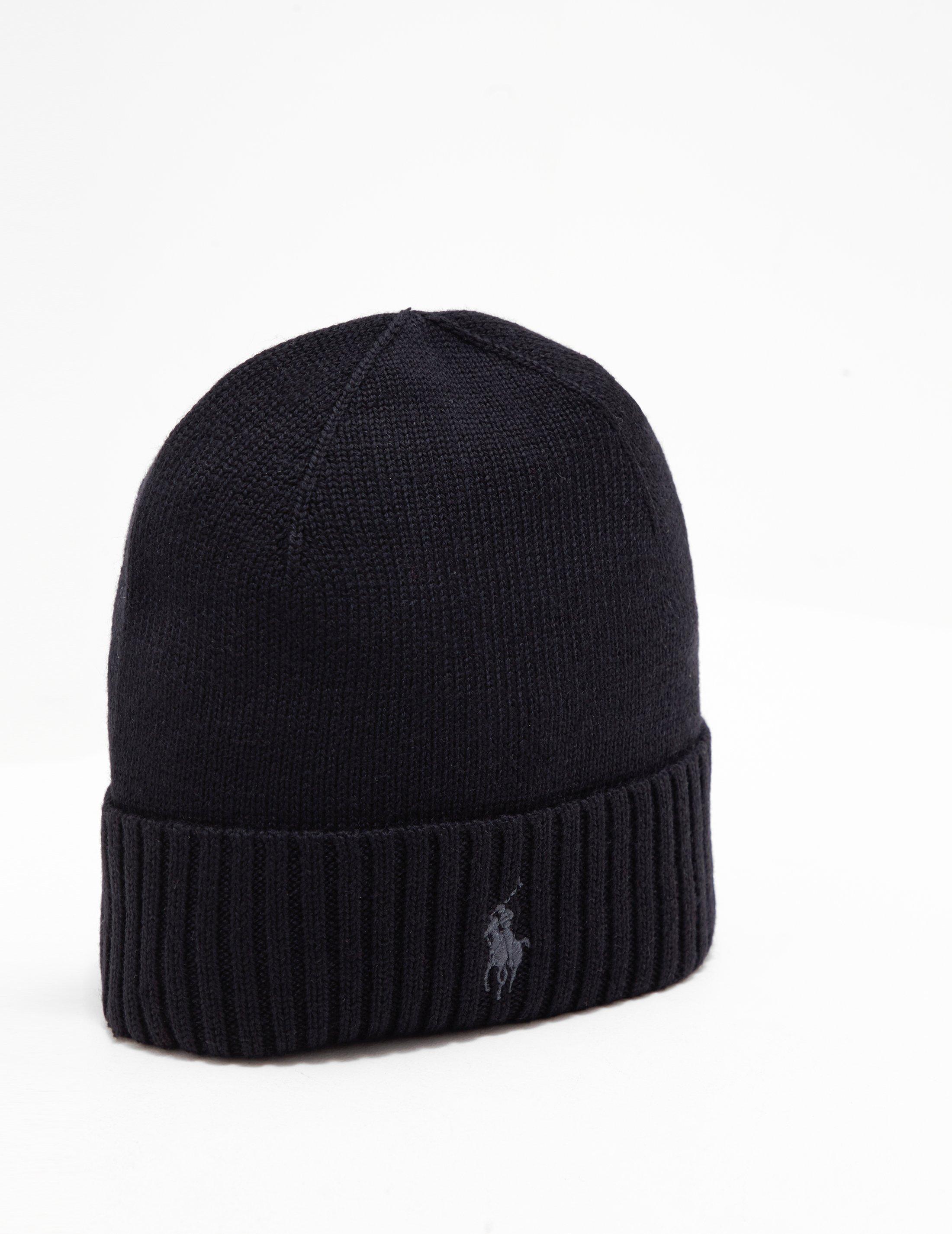 Lyst - Polo Ralph Lauren Mens Logo Beanie Black in Black for Men c57c06172326