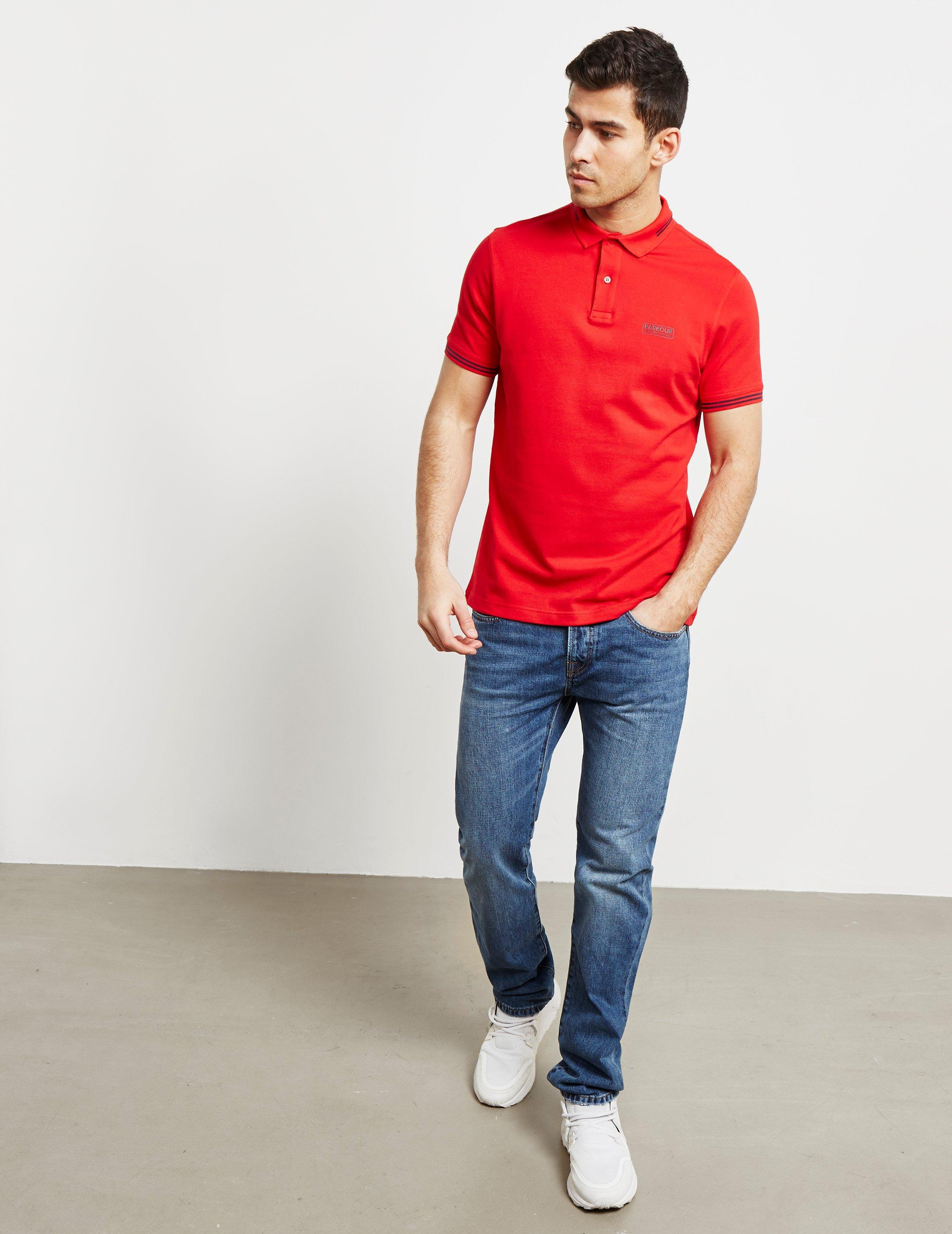 Lyst Barbour Mens International Tipped Polo Shirt Red In Red For Men