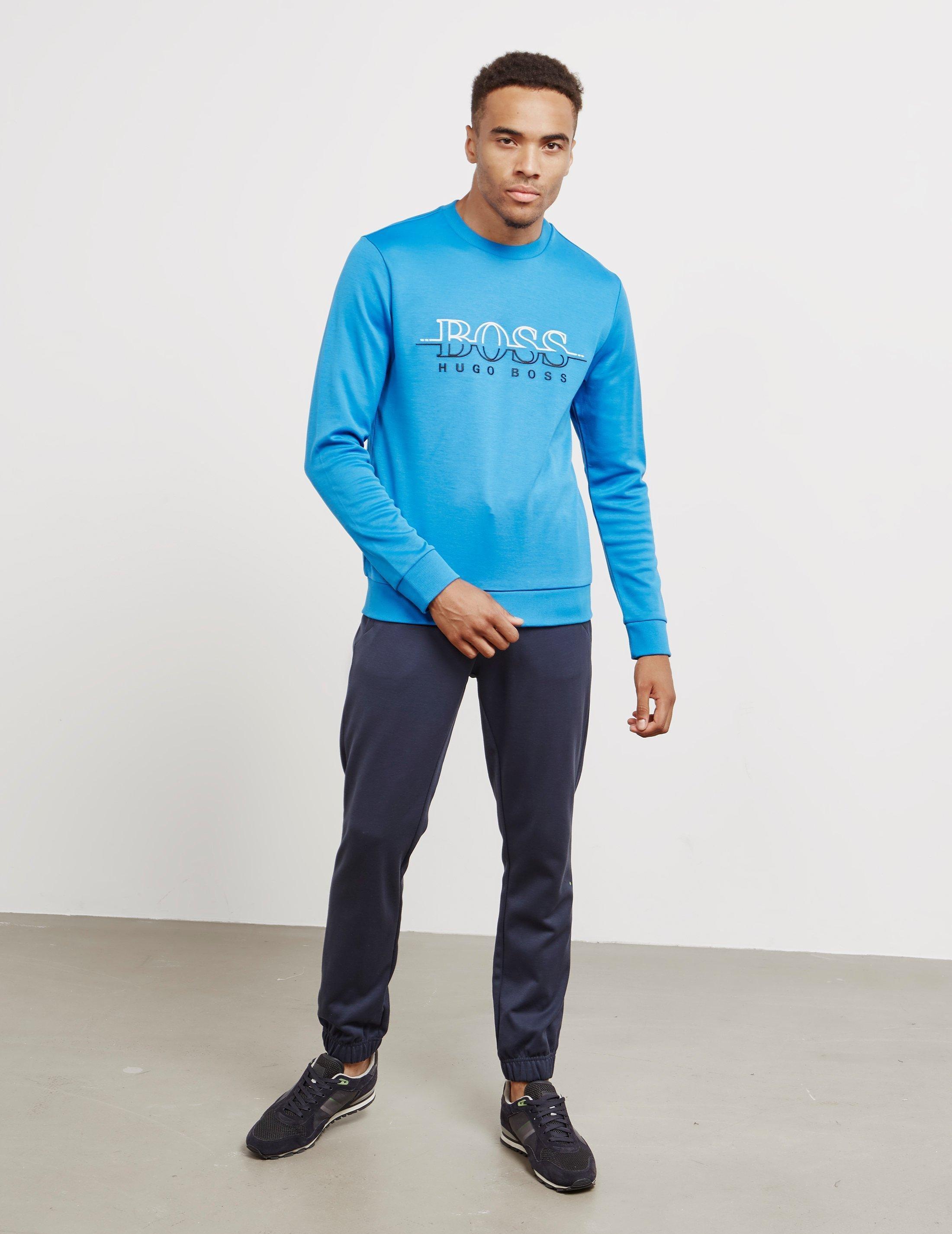 3948e45ae Lyst - BOSS Salbo Crew Neck Sweatshirt Blue in Blue for Men