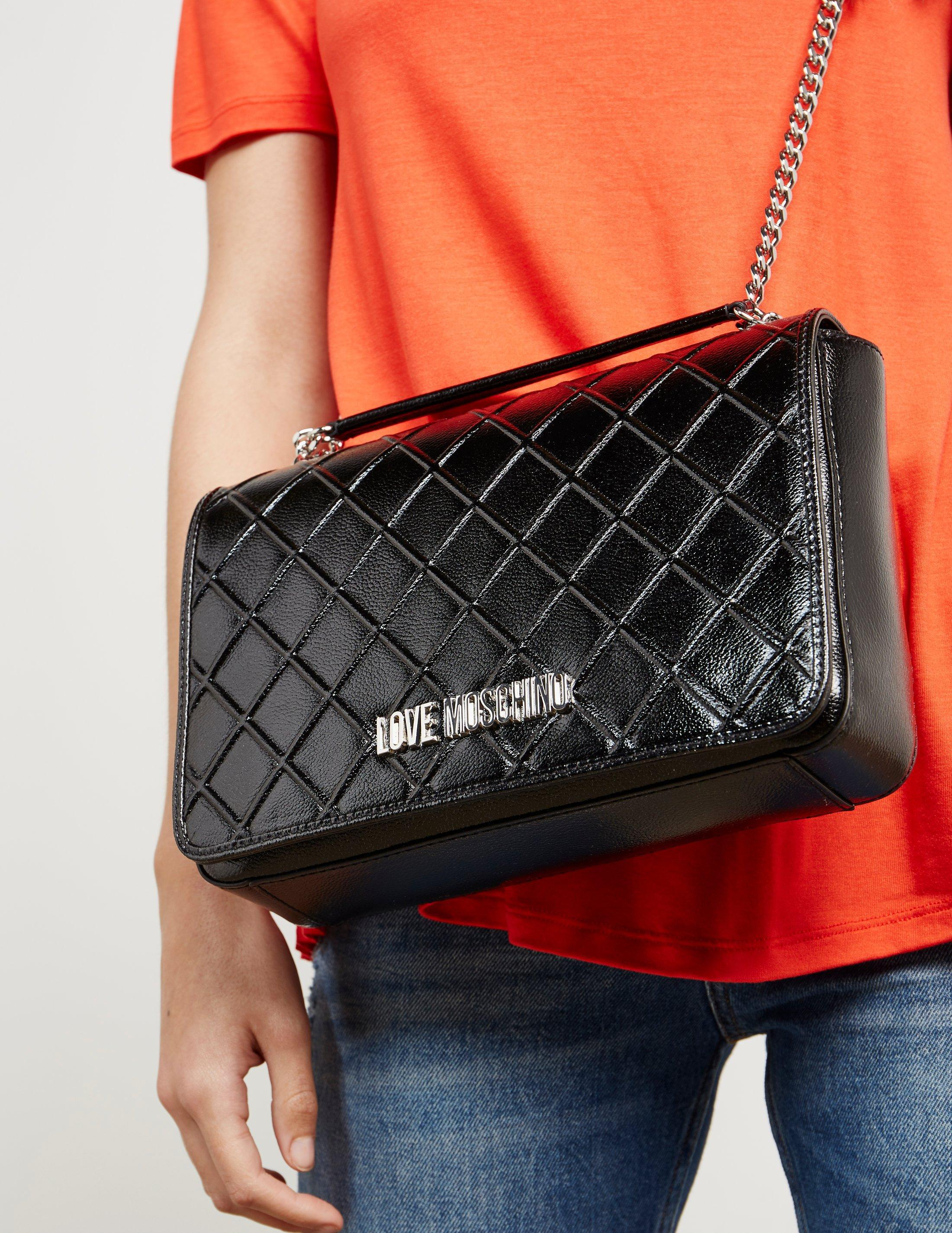 Love Moschino Womens Quilt Chain Shoulder Bag Black In Lyst Longchamp Le Pliage Cocarde Crossbody Navy Gallery