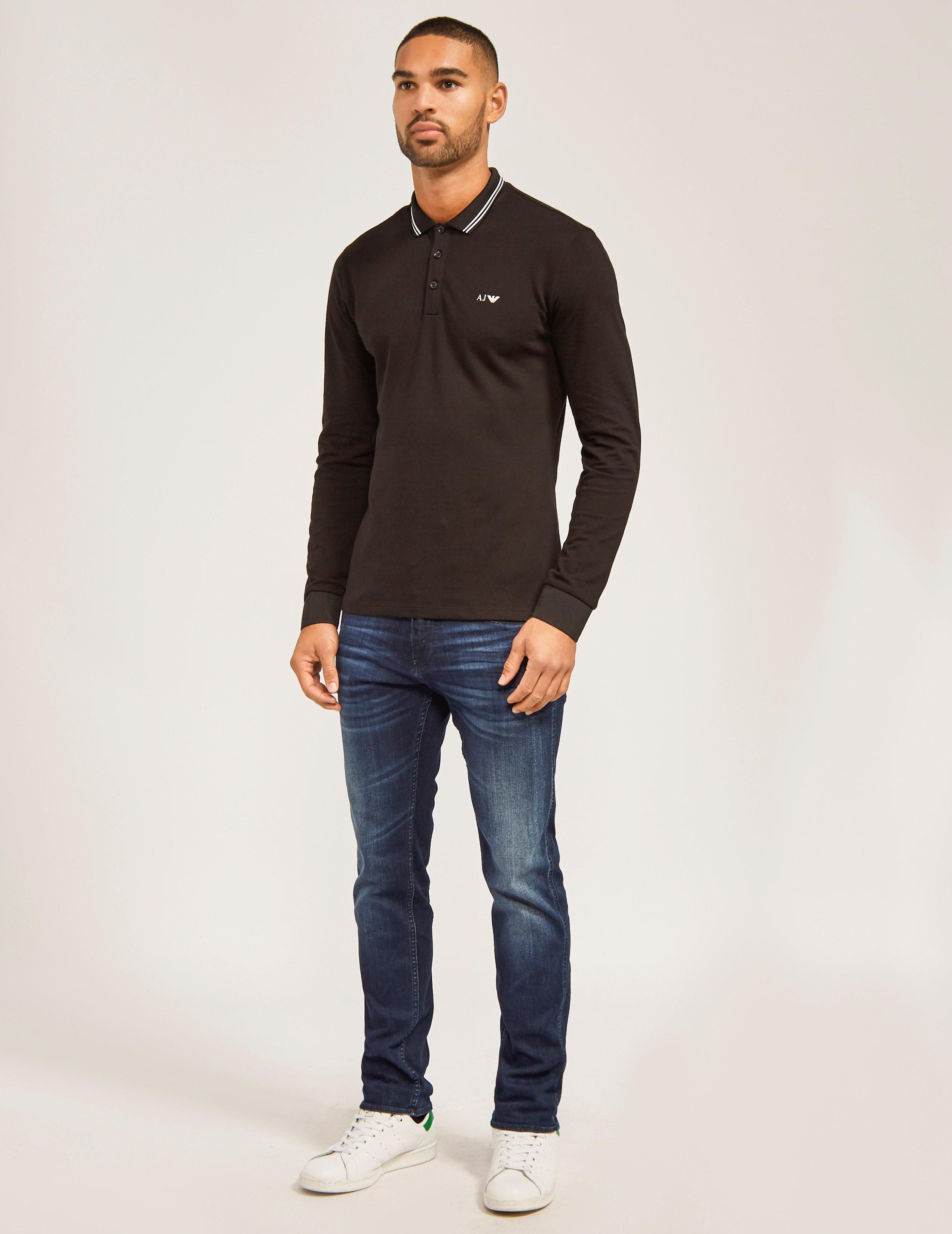84f0f9dc Armani Jeans Black Modern Fit Long Sleeve Polo Shirt for men