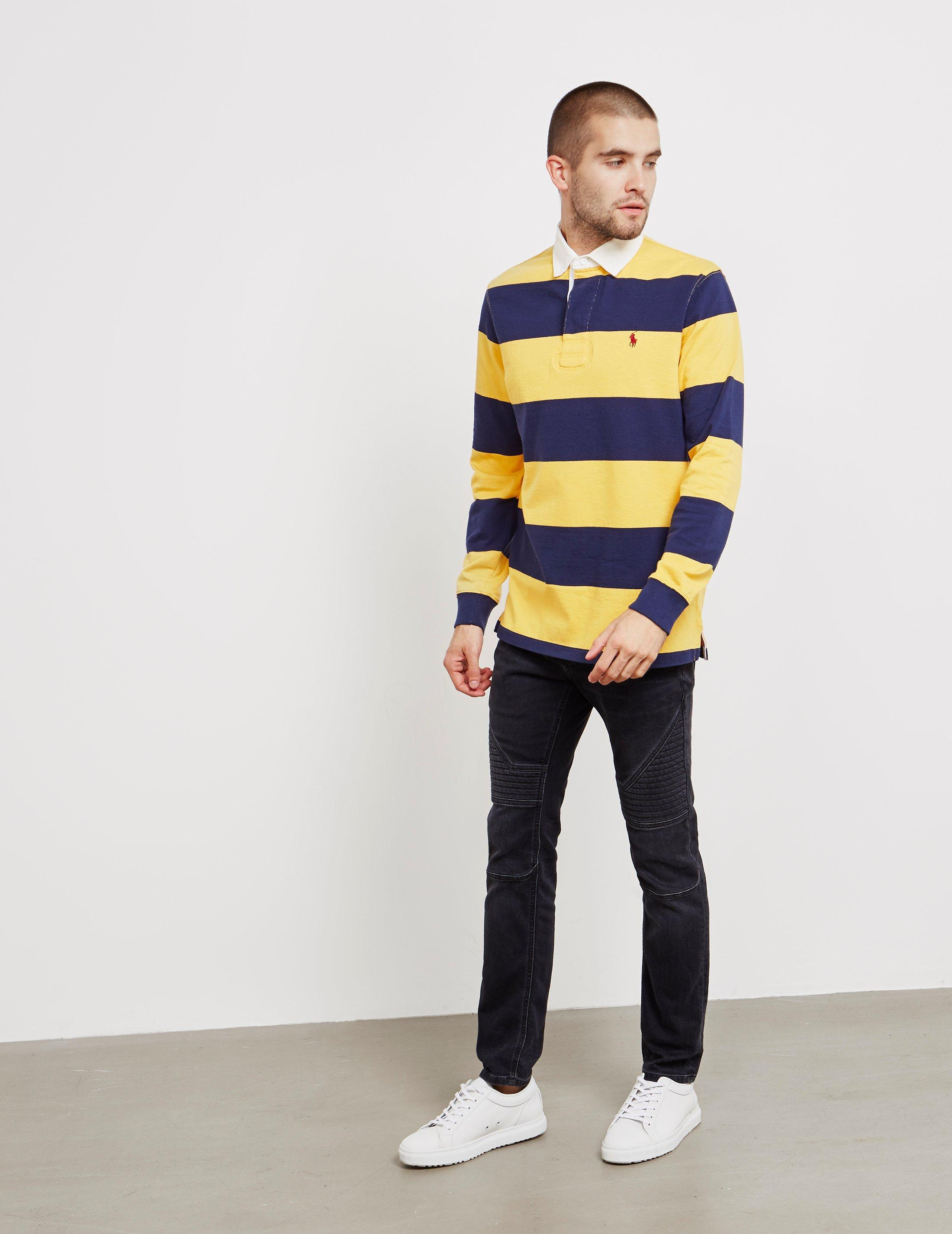 2aa6b566cb3 Lyst - Polo Ralph Lauren Stripe Rugby Long Sleeve Polo Shirt Yellow in  Yellow for Men - Save 55%