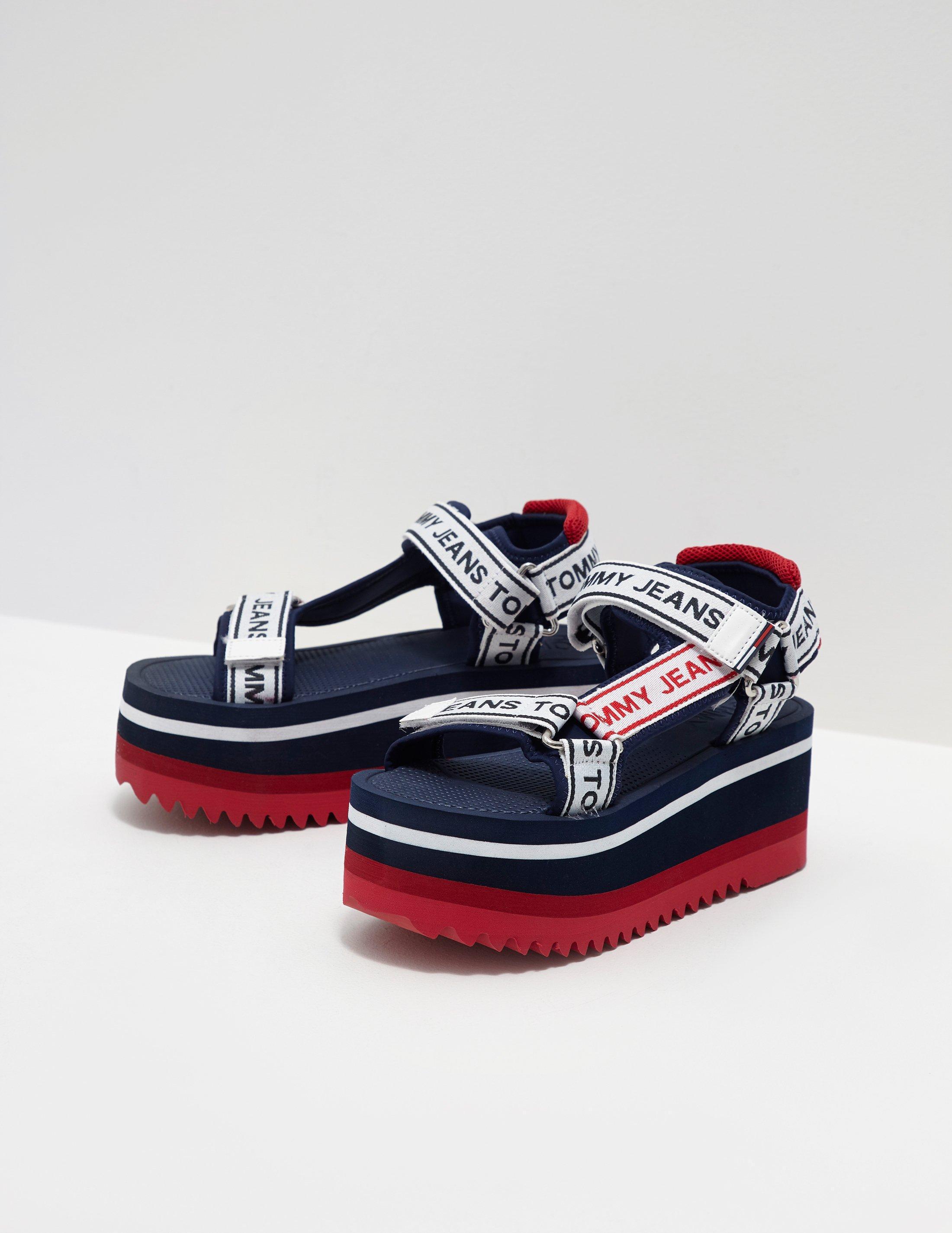 00d87f6c3 Lyst - Tommy Hilfiger Womens Technical Platform Sandals Navy Blue in ...