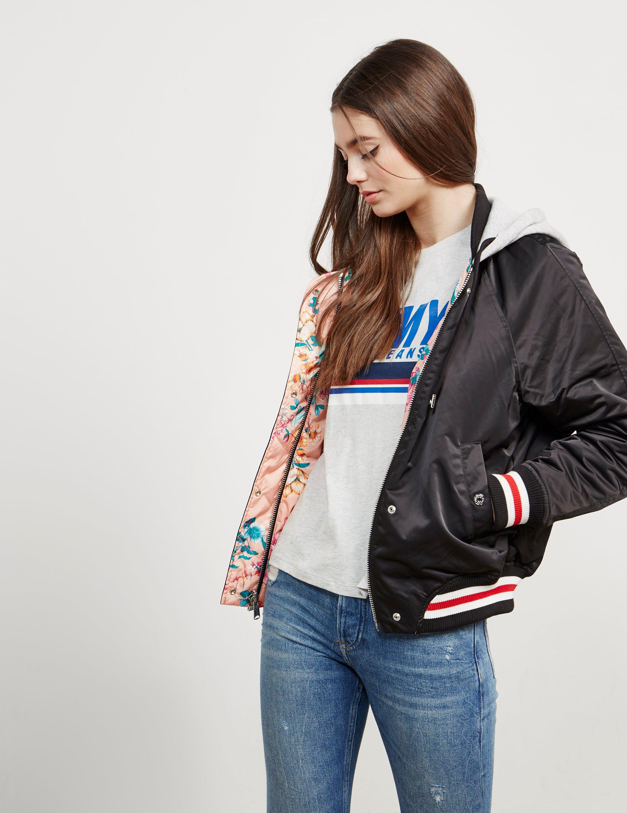 neue Season heiße neue Produkte spottbillig Womens Reverse Floral Hooded Jacket - Online Exclusive Black