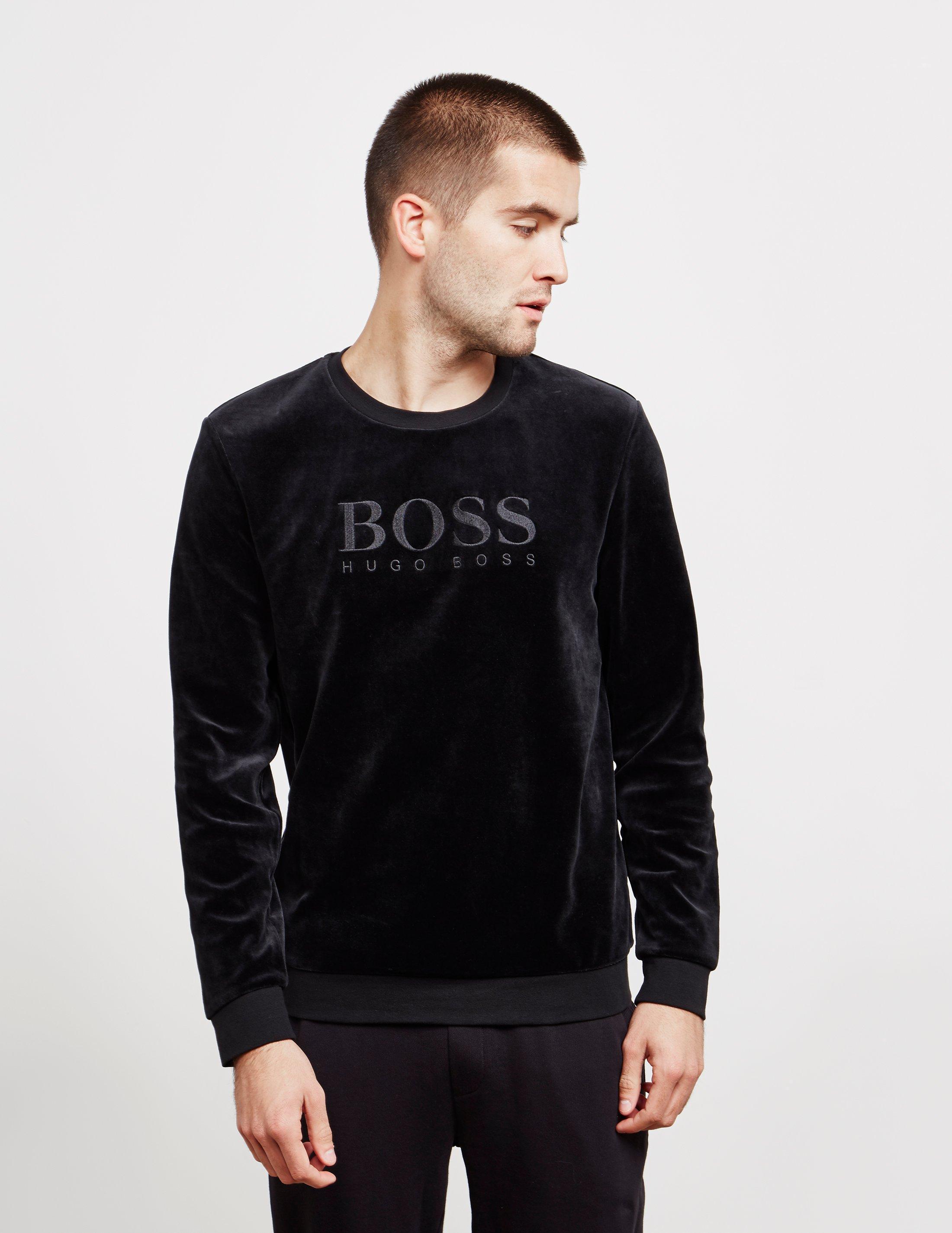 77b05899 BOSS - Velour Crew Neck Sweatshirt Black for Men - Lyst. View fullscreen