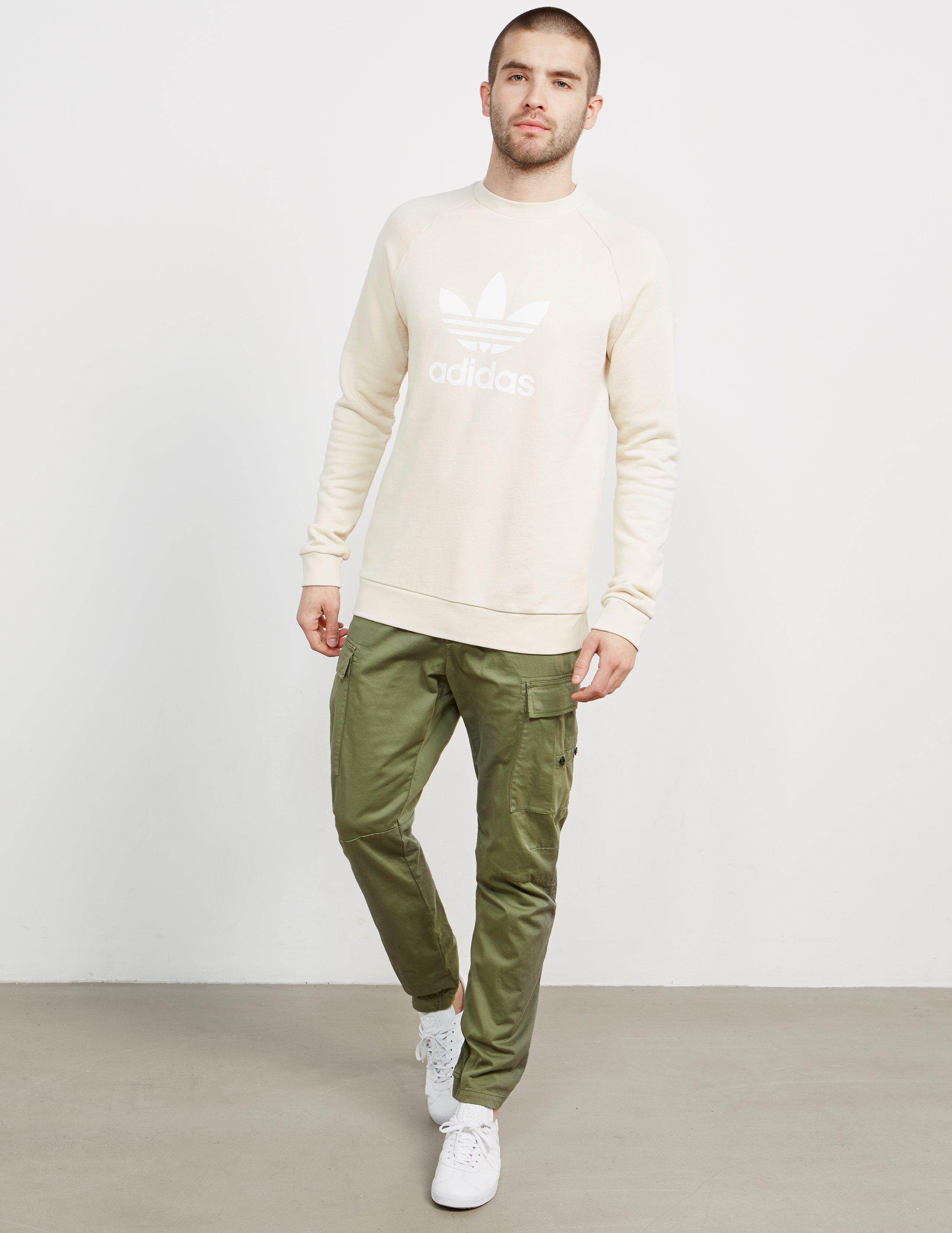 Mens Trefoil Crew Sweatshirt Linen
