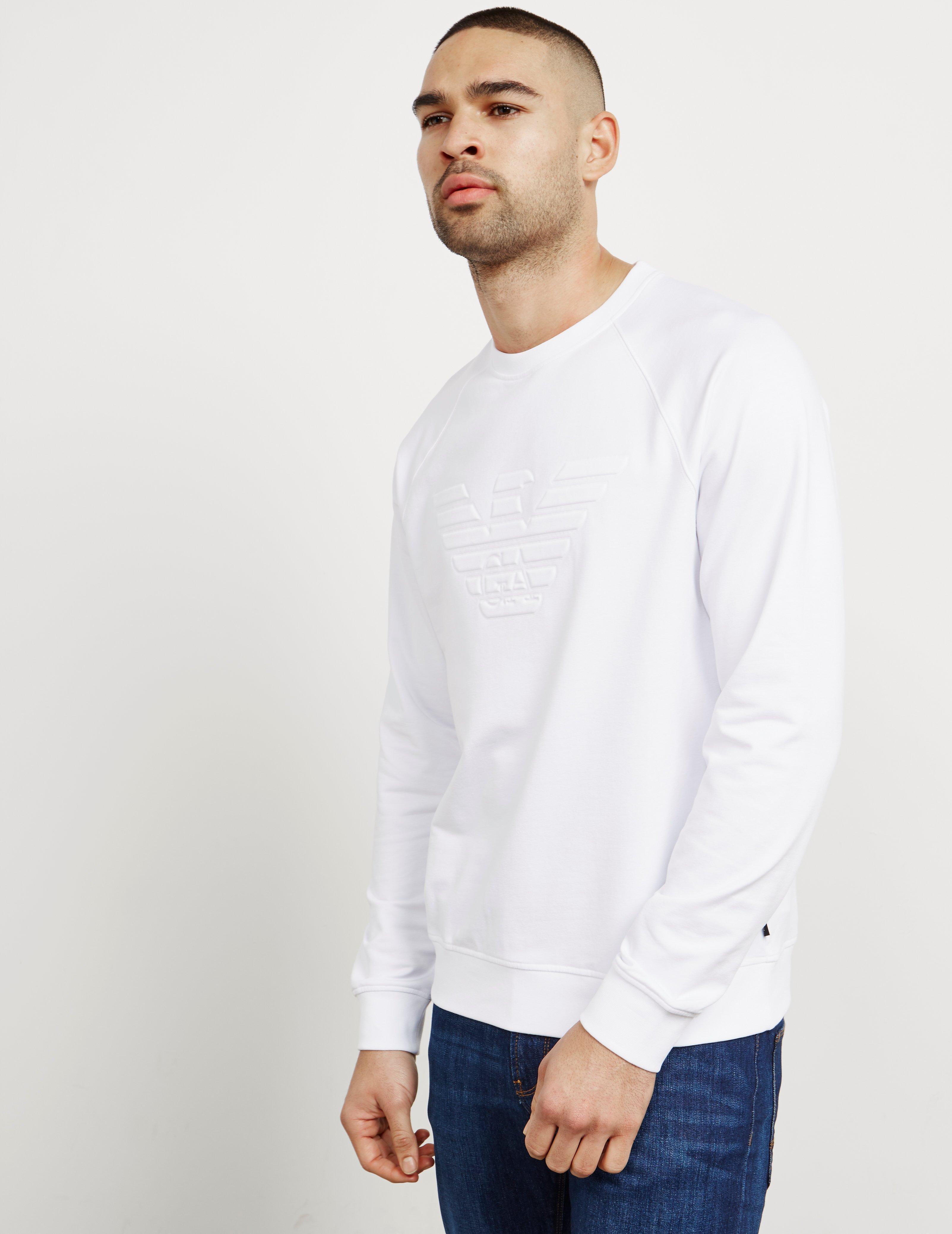 a96b5d5c02 Emporio Armani Embossed Eagle Sweatshirt White for men