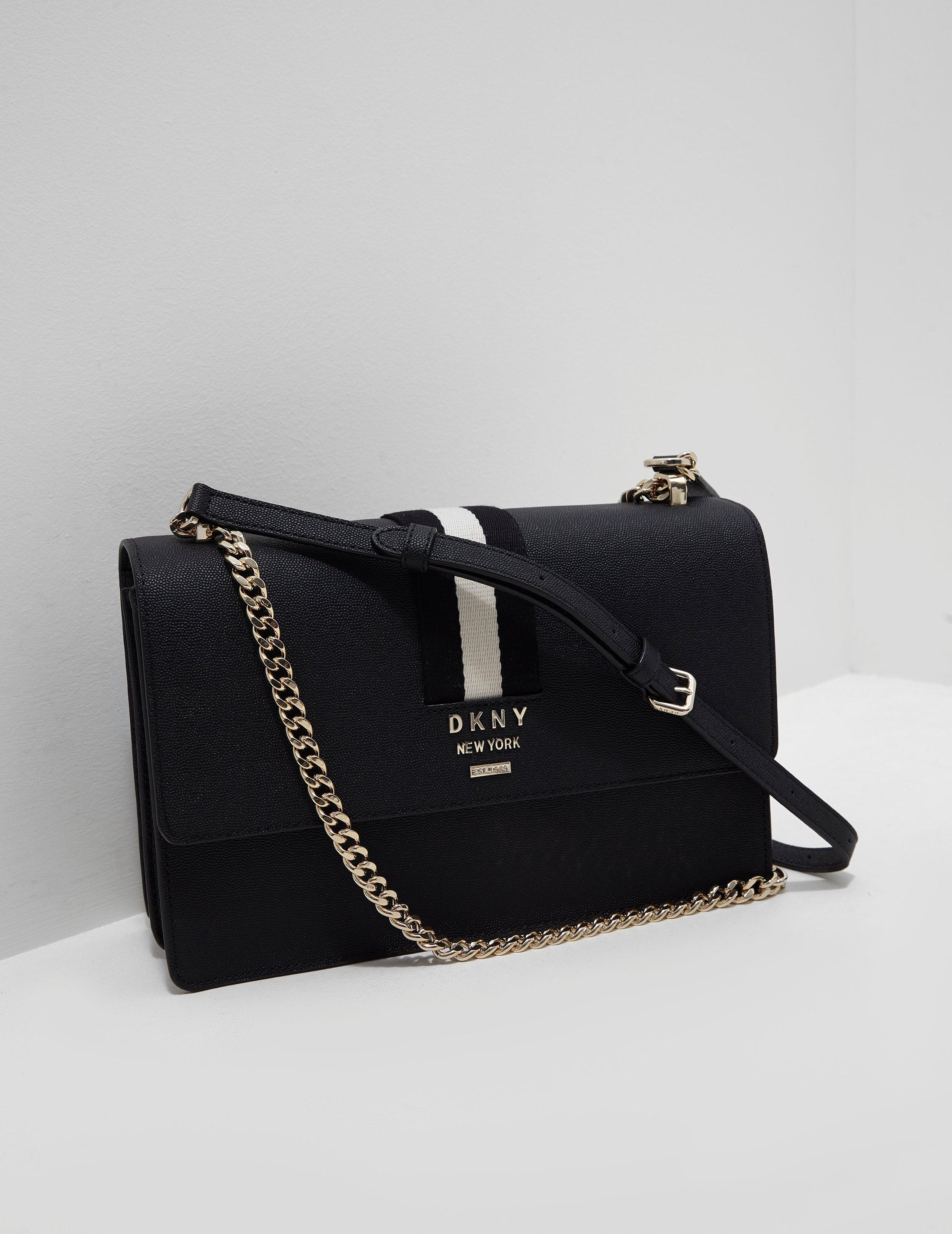 fc91fc3fe50b Lyst - DKNY Liza Stripe Bag Black in Black