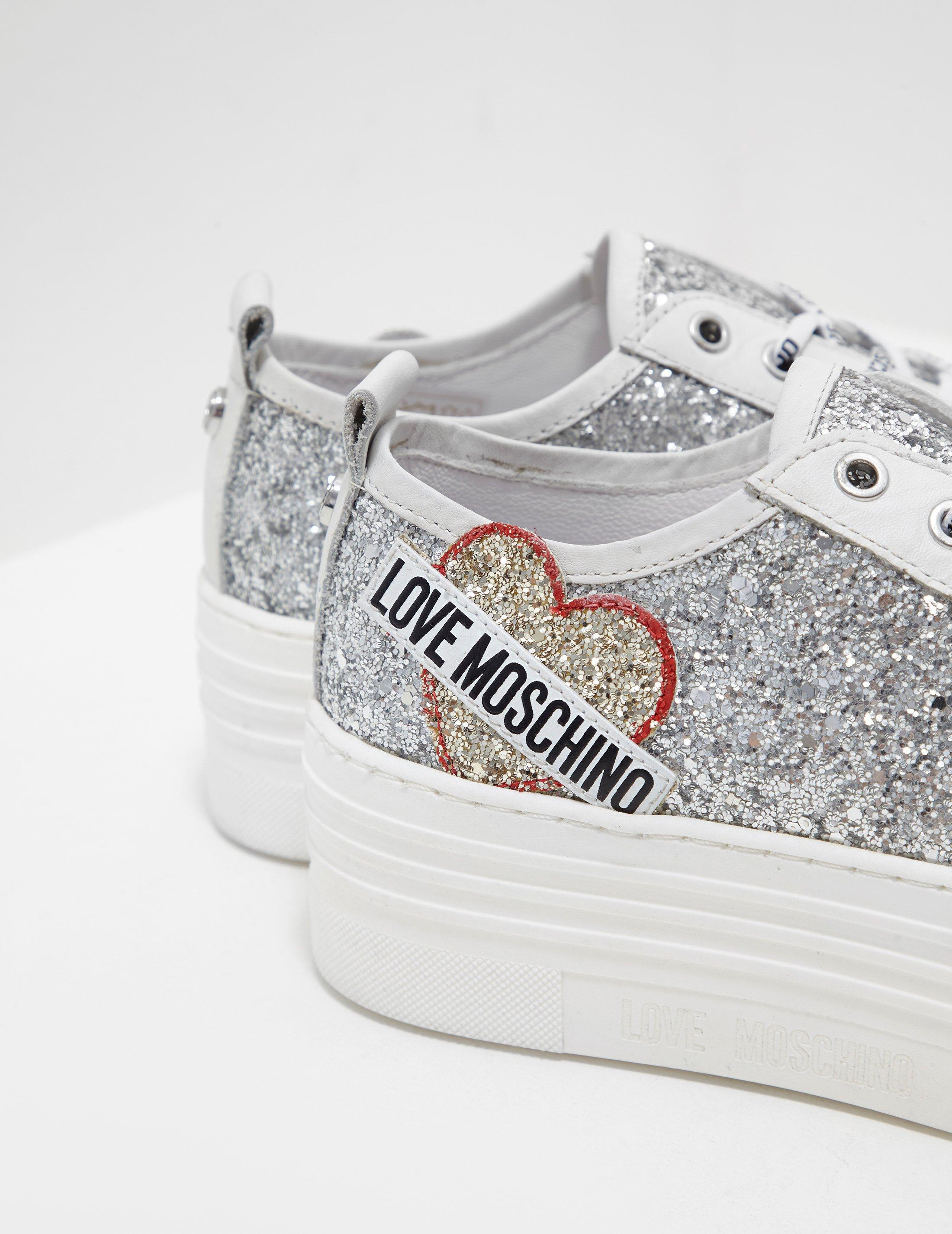 5dfdbf60e3b Lyst - Love Moschino Womens Glitter Platform Trainers Silver in Metallic