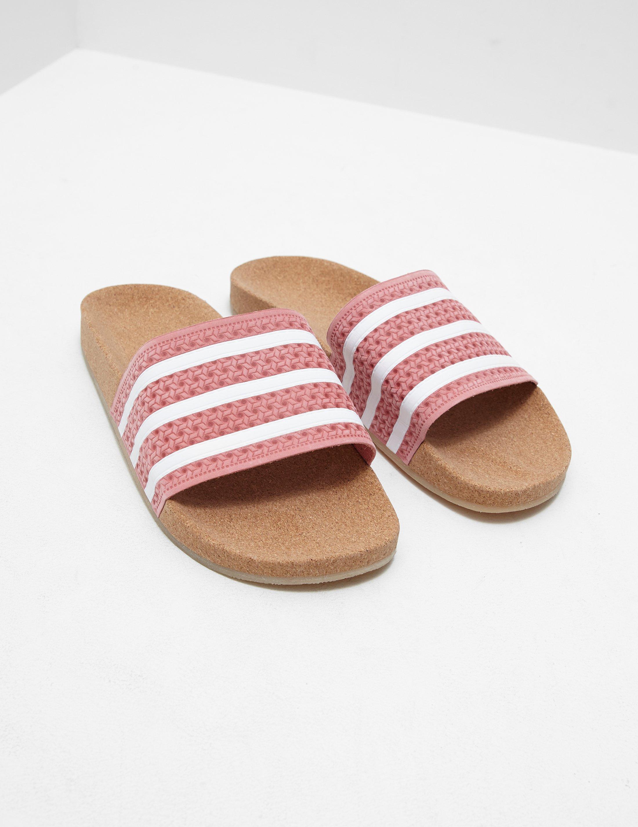 Adidas Originals Womens Adilette Cork Slides Pink