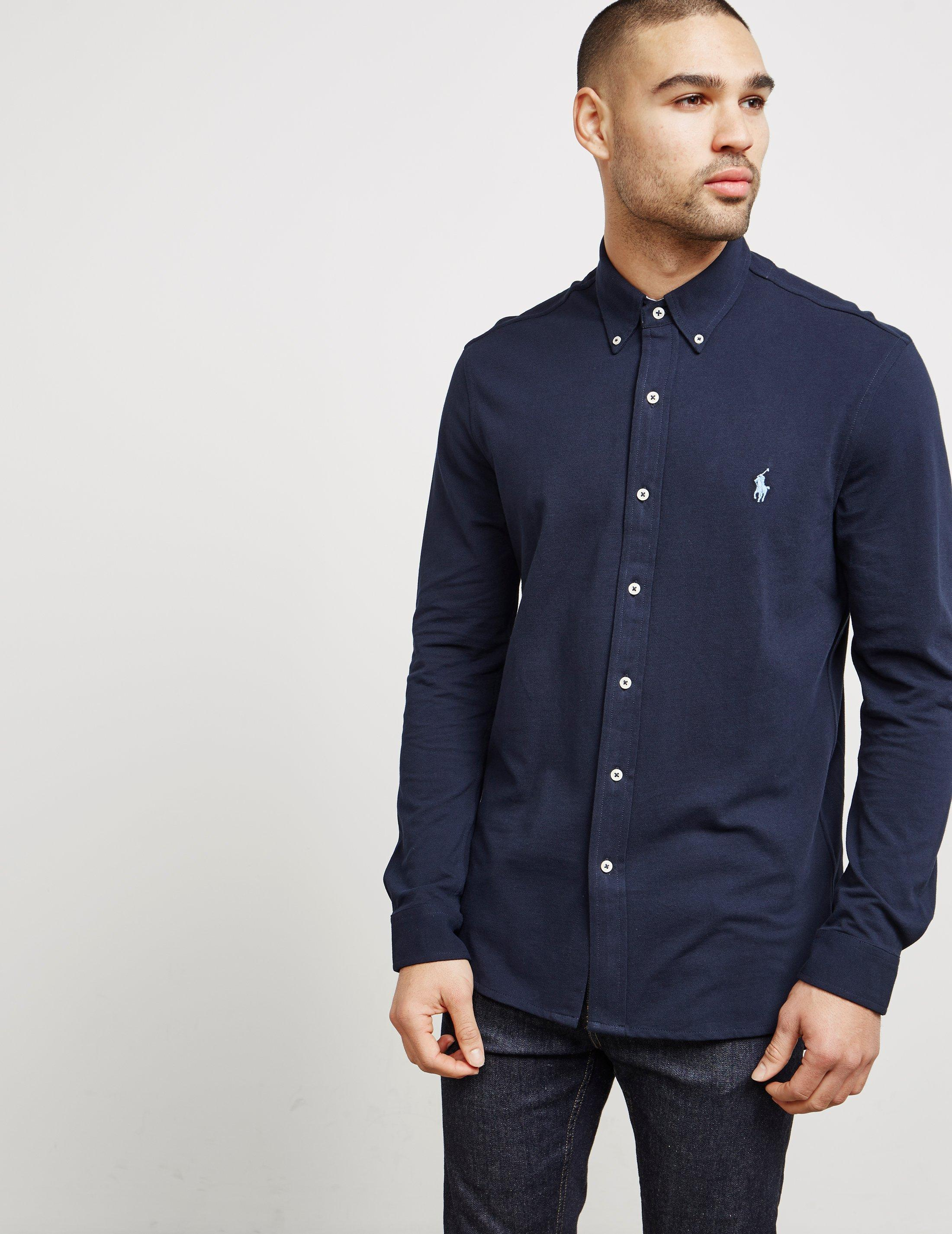 6783d6be Polo Ralph Lauren Mens Featherweight Mesh Long Sleeve Shirt Navy ...