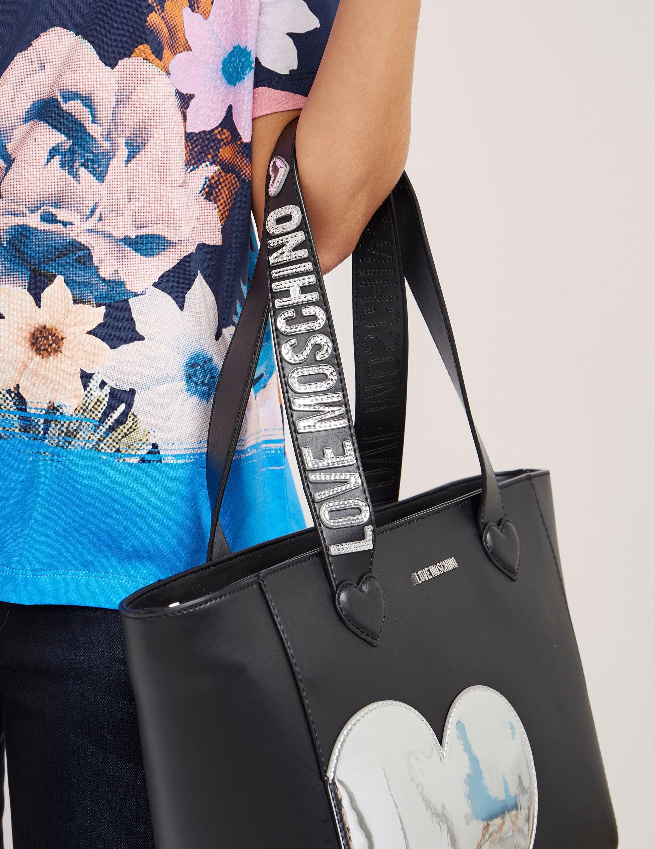 0ddbee7fca1 Love Moschino Womens Silver Heart Shopper Bag Black in Black - Lyst