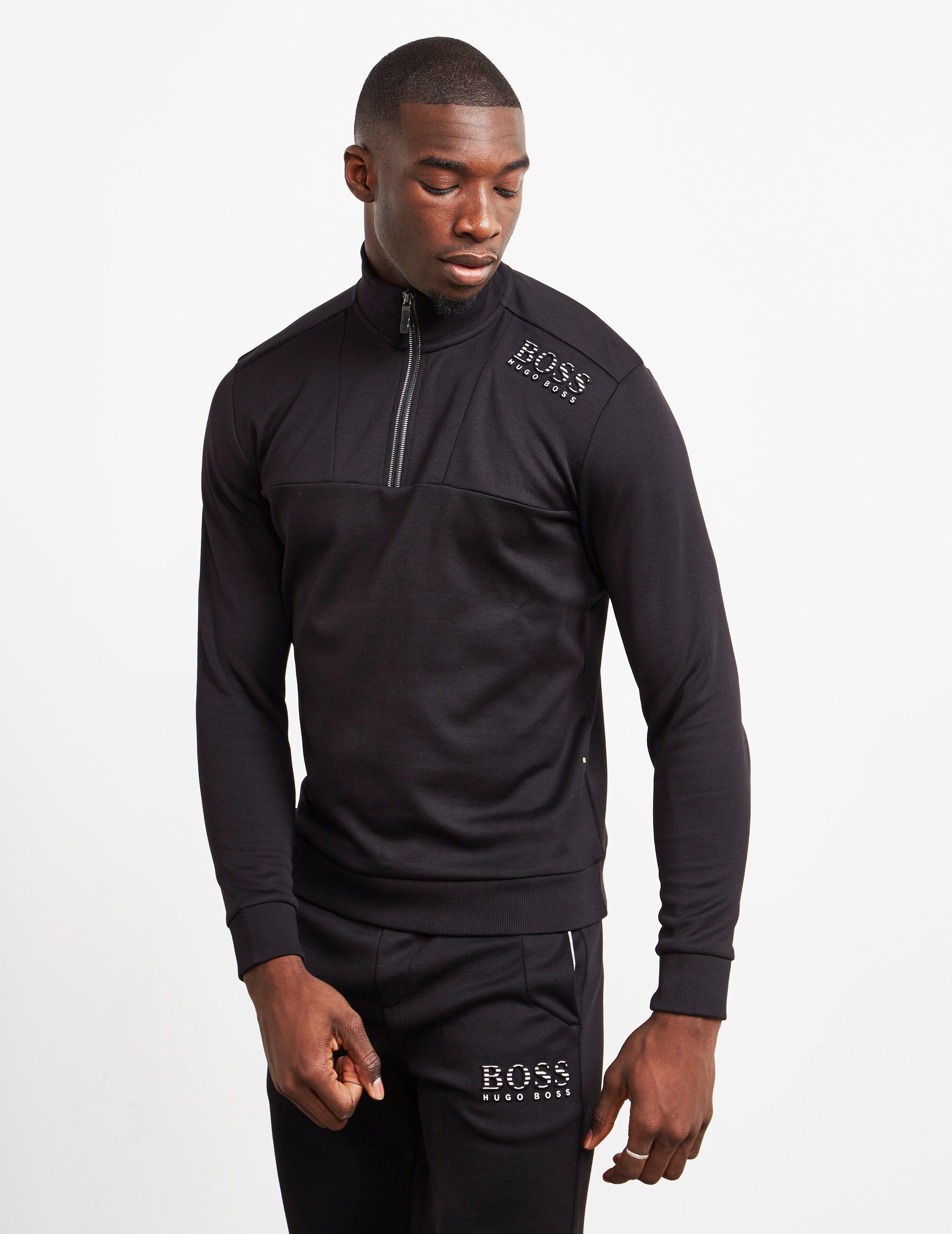 2e699ec7 BOSS - Mens Half Zip Sweatshirt Black for Men - Lyst. View fullscreen
