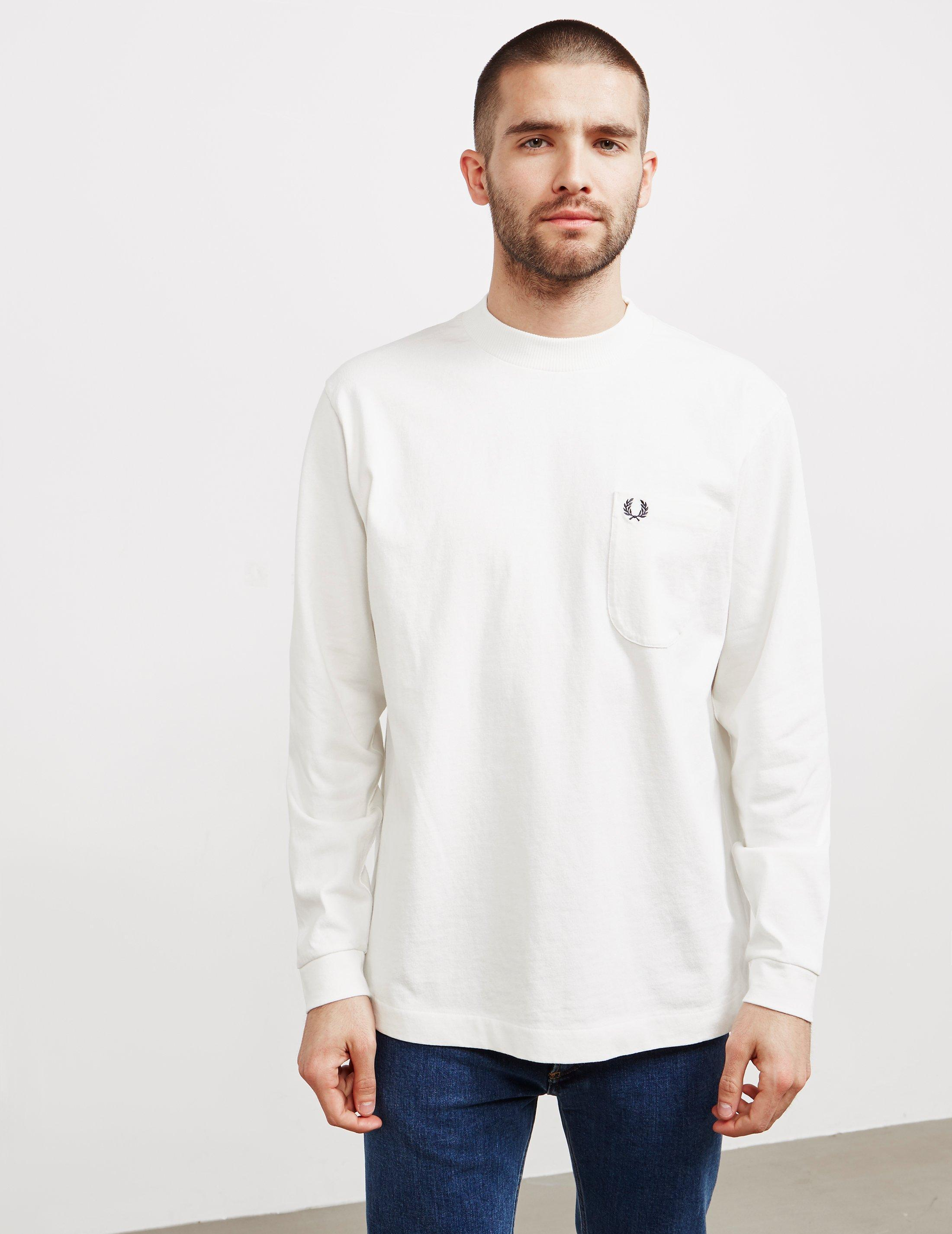 Fred Perry High Neck Long Sleeve T-shirt White for Men - Lyst