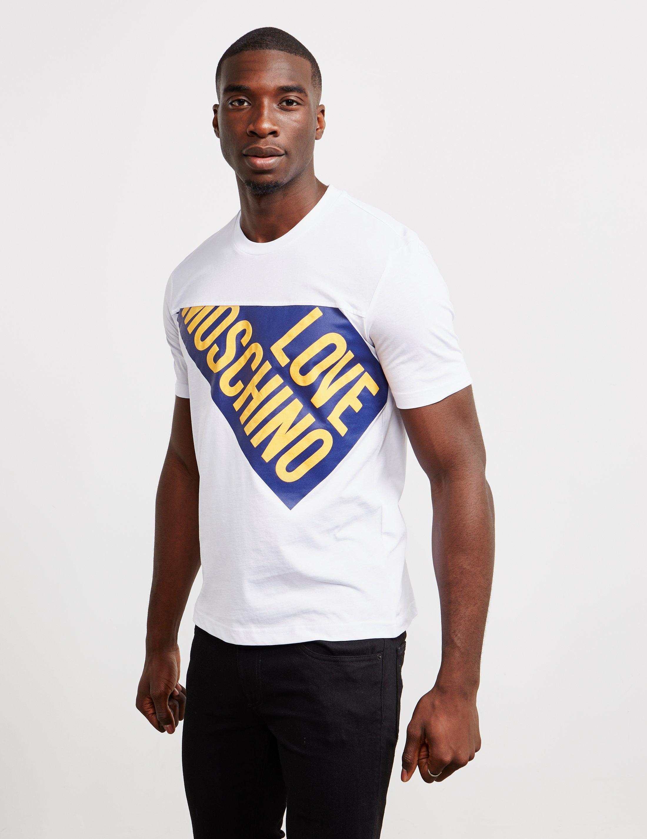 7d8e8fc3 Love Moschino Split Logo Short Sleeve T-shirt White in White for Men ...