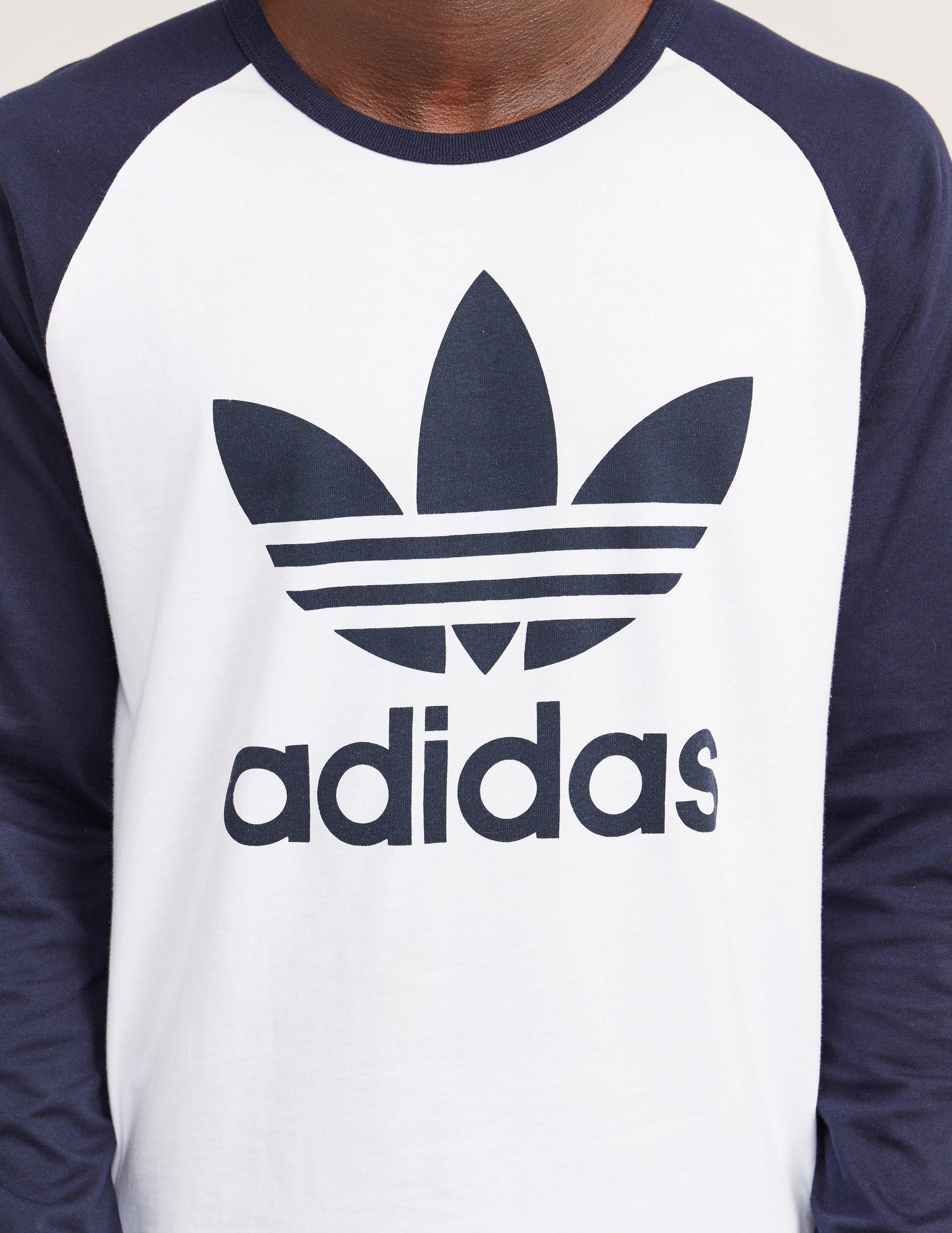 Adidas Originals Long Sleeve Trefoil T Shirt In Blue For